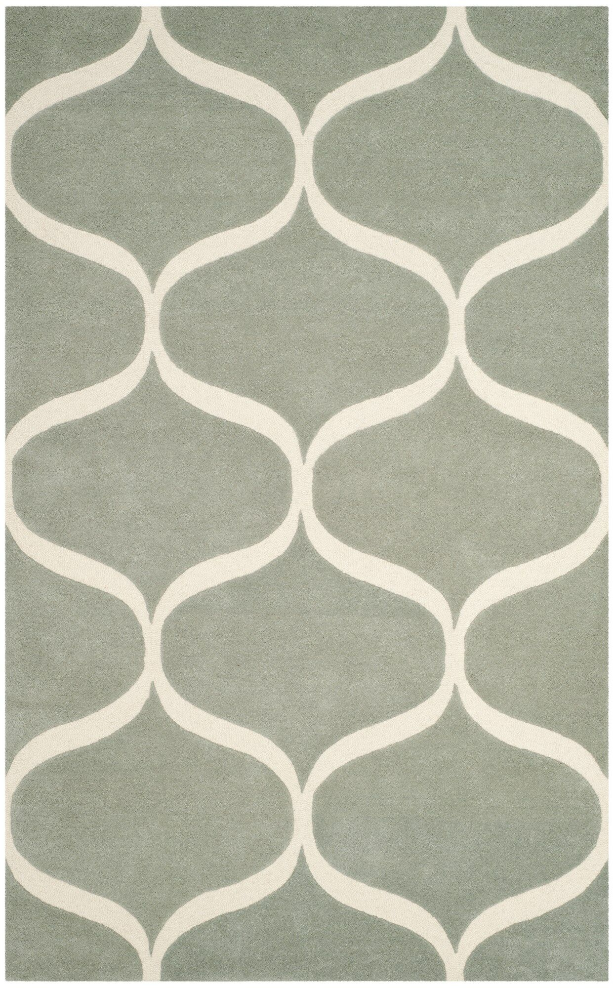 Martins Hand-Tufted Gray/Ivory Area Rug Rug Size: Rectangle 8' x 10'
