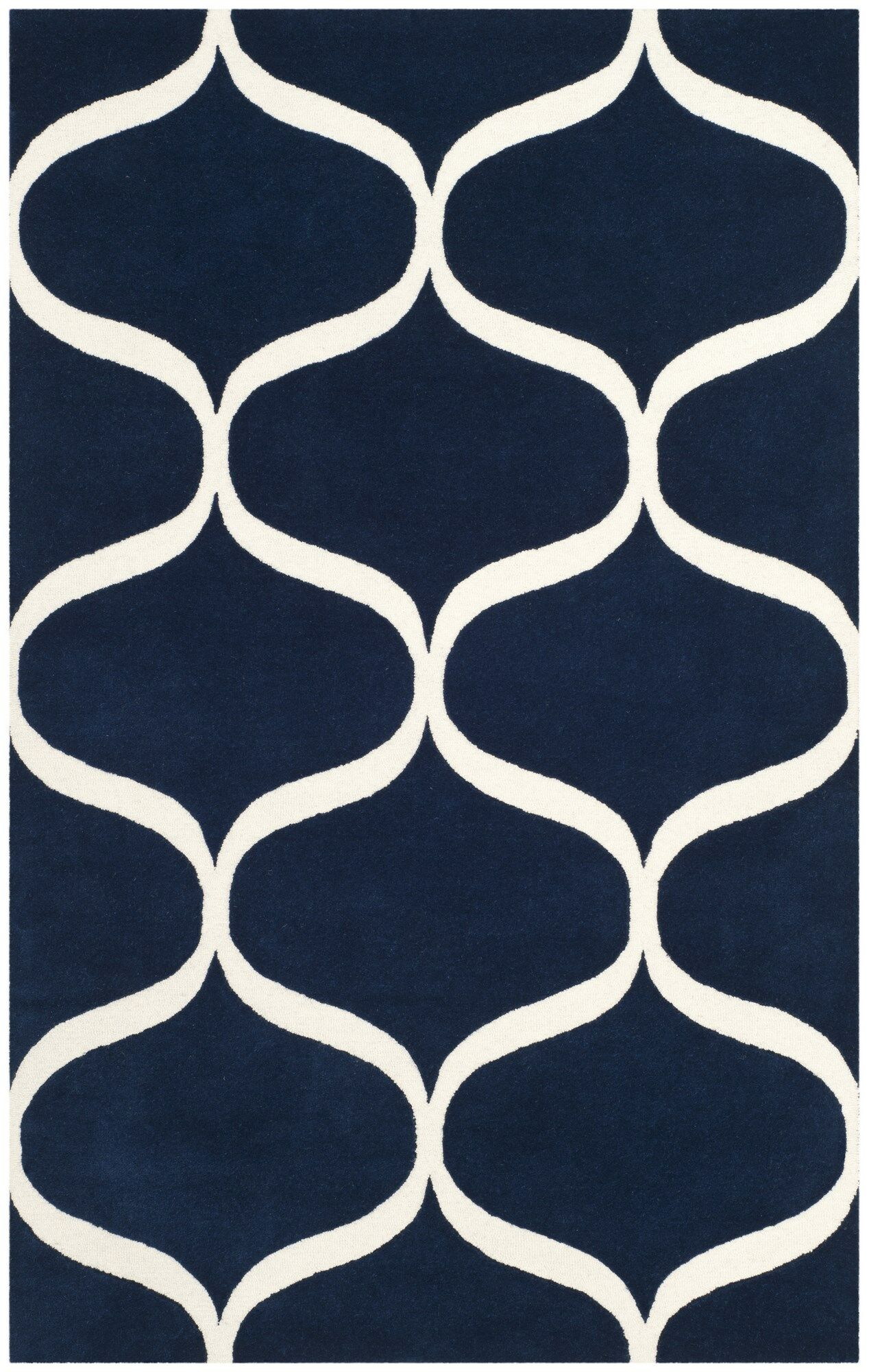 Martins Hand-Tufted Dark Blue/Ivory Area Rug Rug Size: Square 6' x 6'