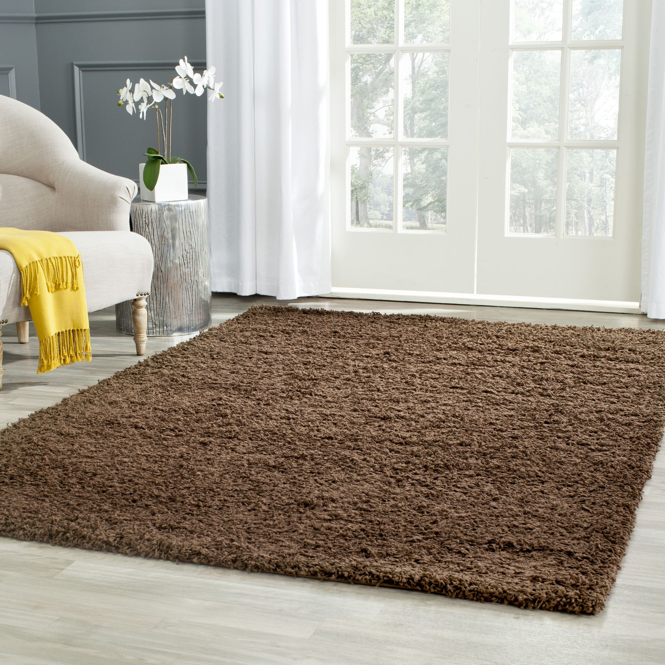 Starr Hill Solid Brown Area Rug Rug Size: Rectangle 5'1