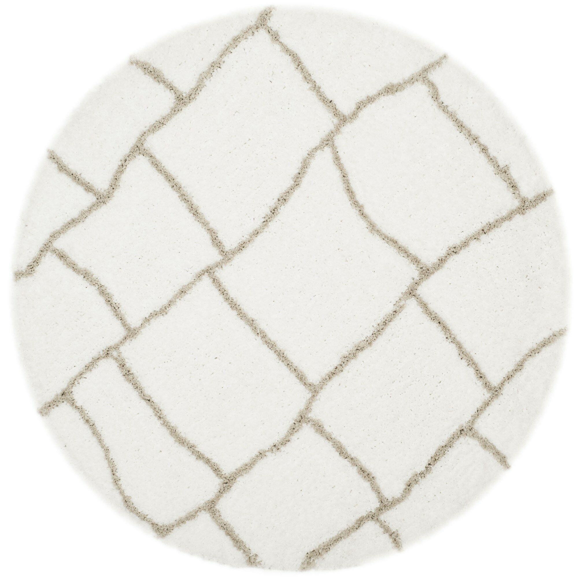 Shead Hand-Tufted Ivory/Silver Area Rug Rug Size: Round 5' x 5'