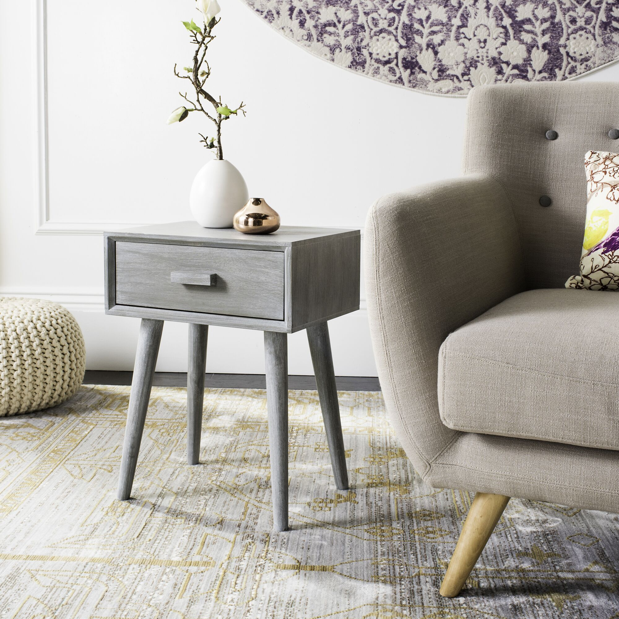 Audrick End Table With Storage Color: Slate Gray