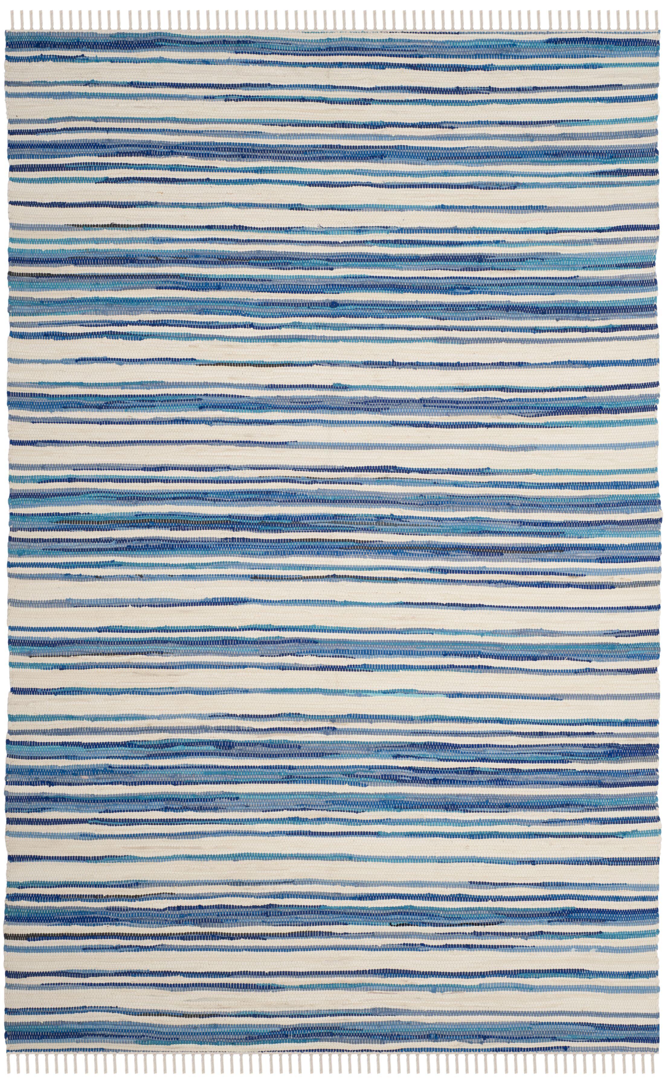 Shinn Hand-Woven Ivory/Blue Area Rug Rug Size: Rectangle 10' x 14'