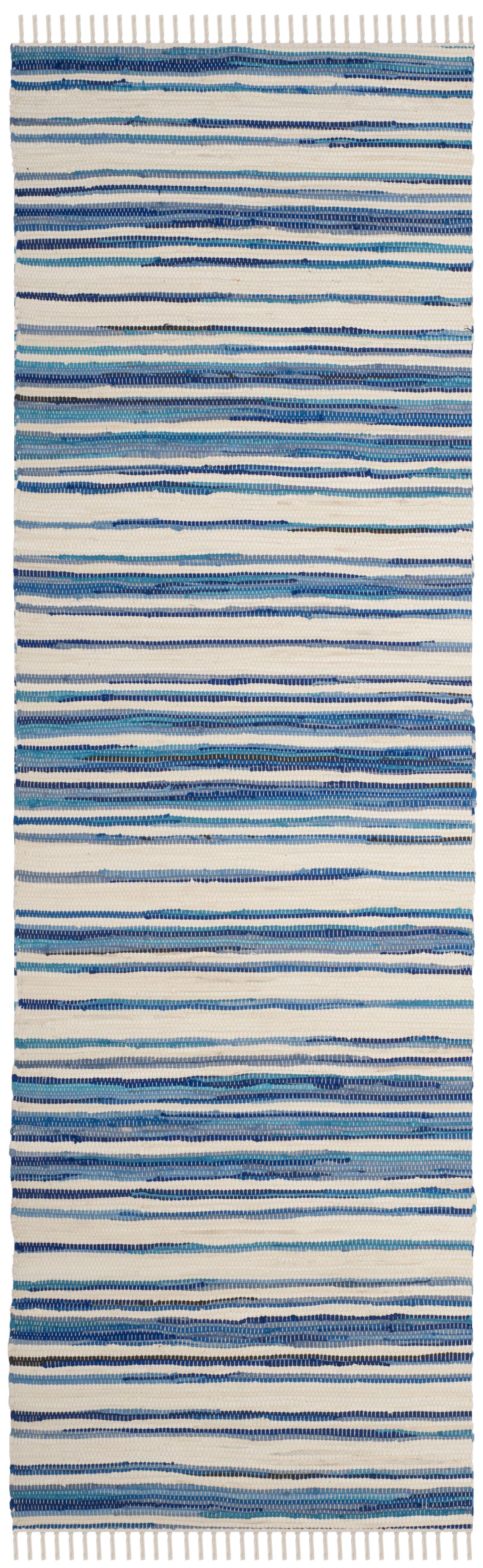 Shinn Hand-Woven Ivory/Blue Area Rug Rug Size: Runner 2'3