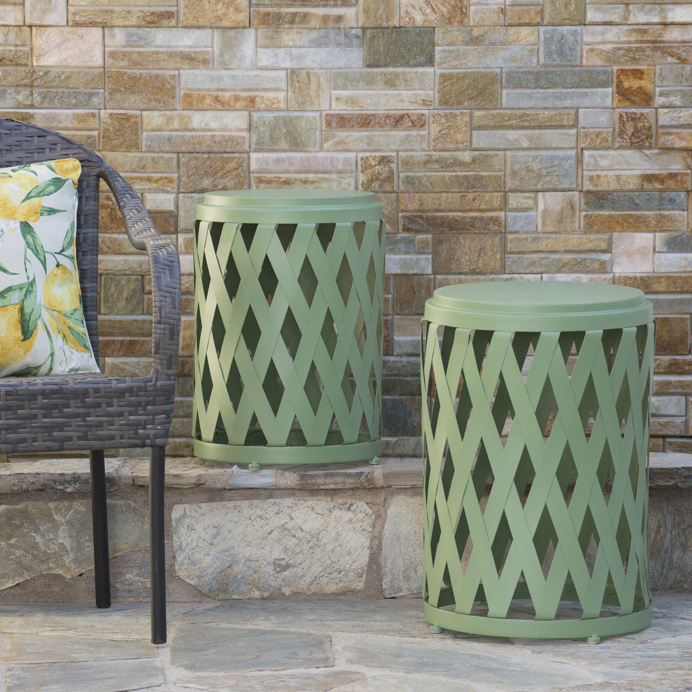 Quinlan 2 Piece Nesting Tables Color: Matte Green