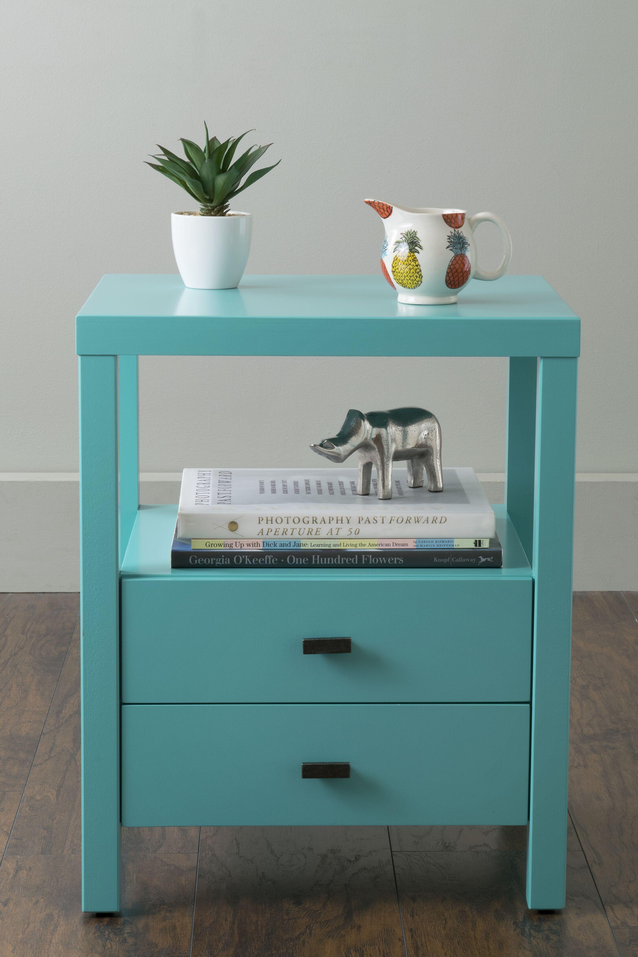 Sardina 2 Drawer Nightstand Color: Turquoise