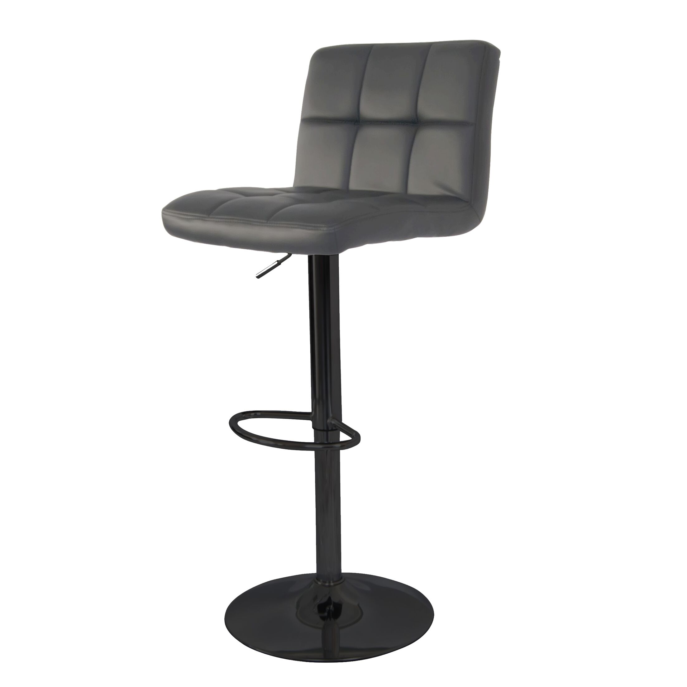 Ransome Adjustable Height Swivel Bar Stool Color: Black, Upholstery: Gray