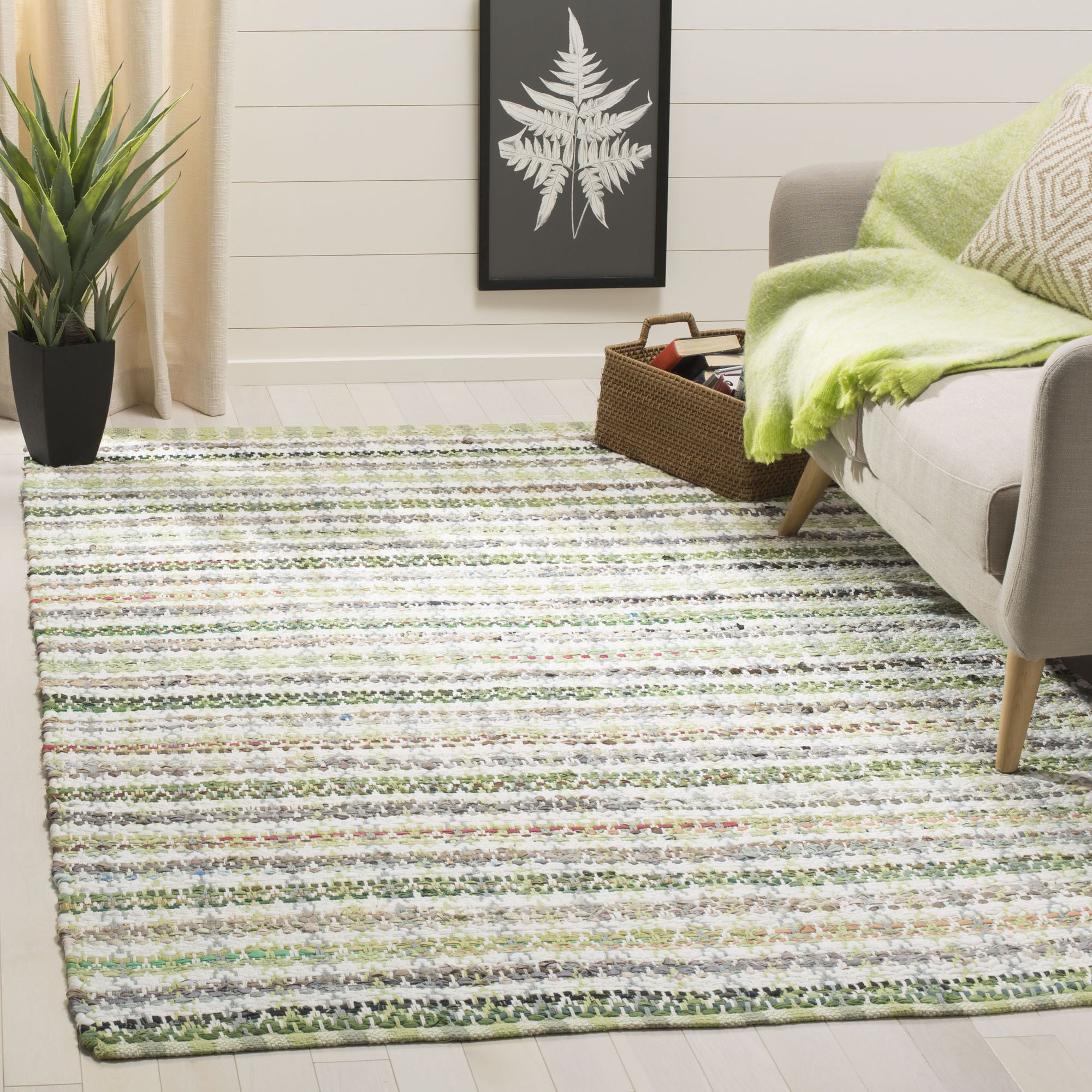 Ingleside Hand-Woven Green/Gray Area Rug Rug Size: Rectangle 5' x 8'
