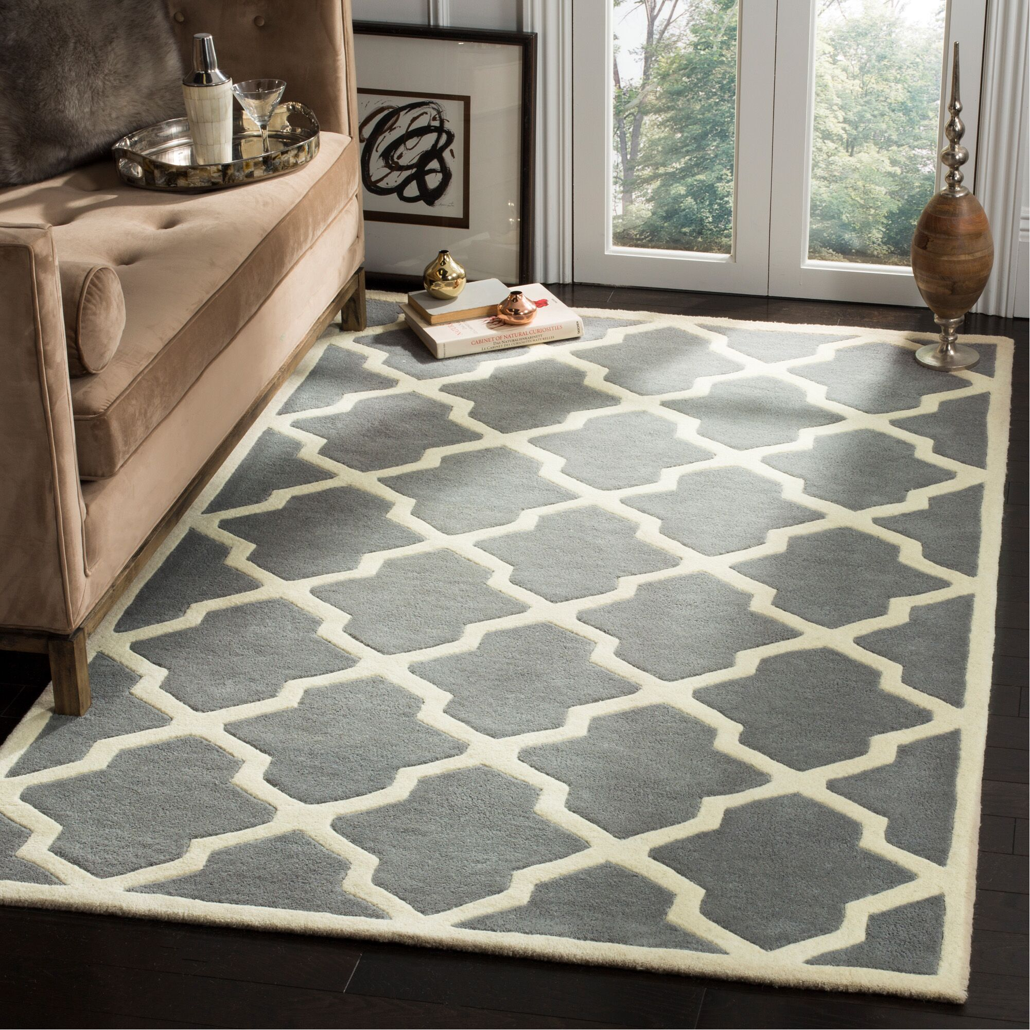 Wilkin Hand-Tufted Dark Gray/Ivory Area Rug Rug Size: Rectangle 5' x 8'