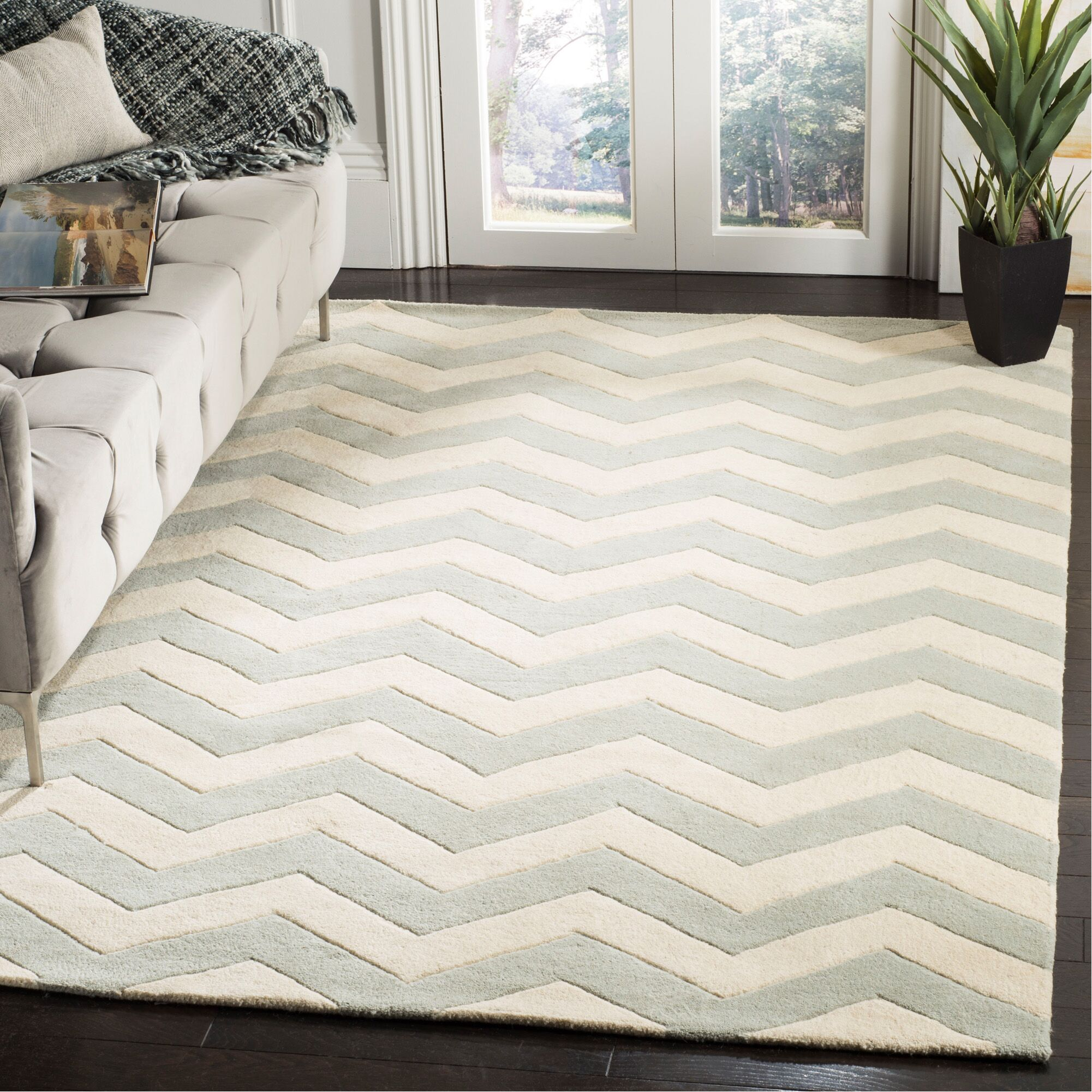 Wilkin Chevron Hand-Tufted Wool Gray/Ivory Area Rug Rug Size: Rectangle 5' x 8'