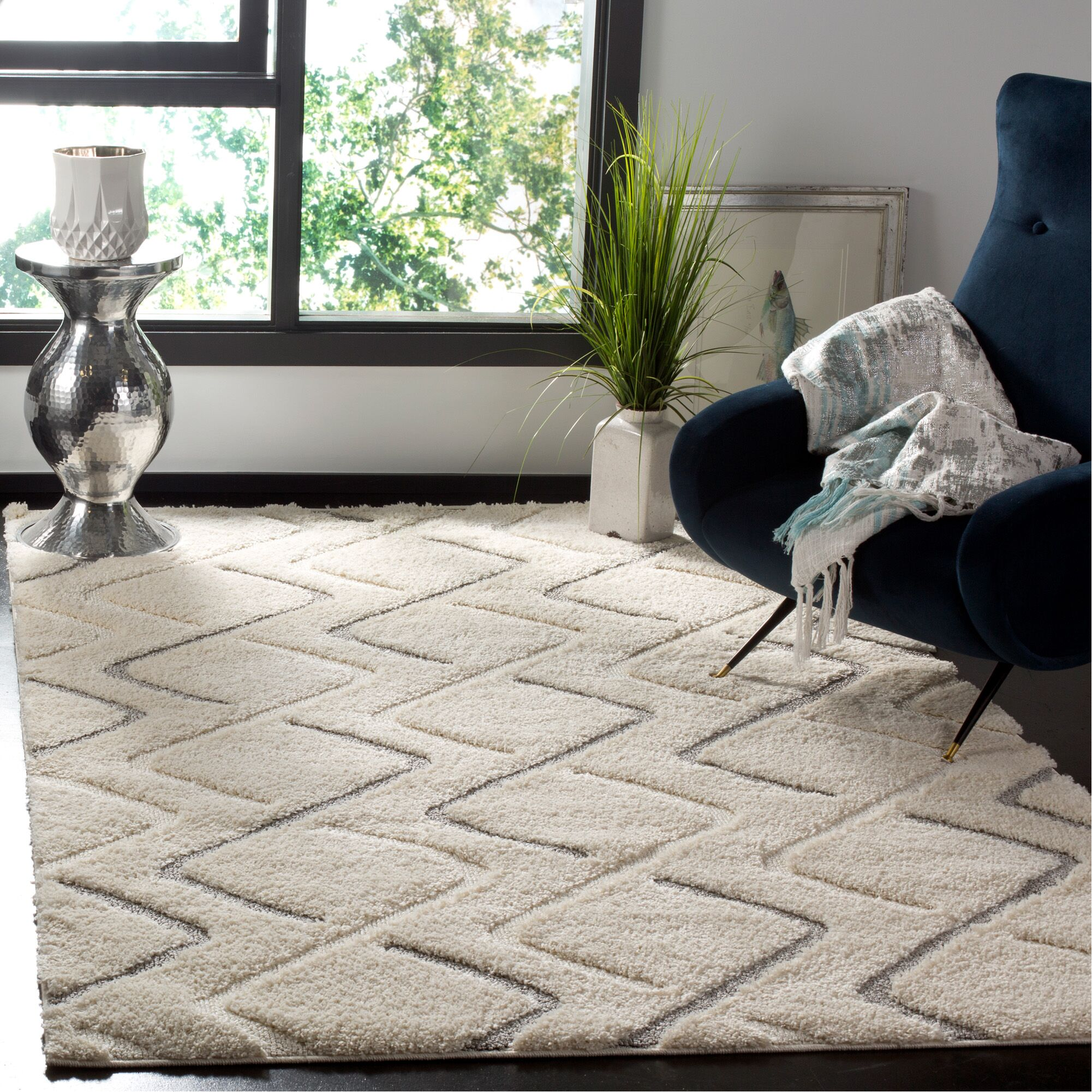 Napfle Geometric Beige Area Rug Rug Size: Rectangle 5'1