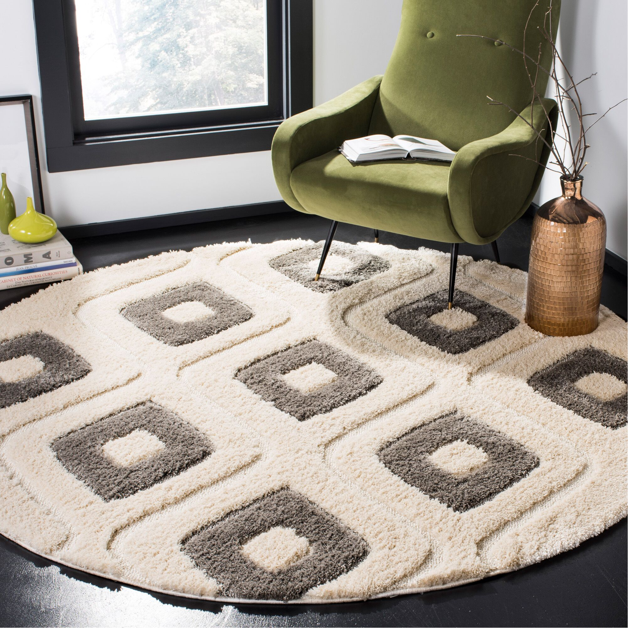 Helms Cream/Gray Area Rug Rug Size: Round 6'7''