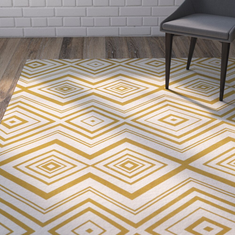 Sonny Hand-Woven Cotton Ivory/Citron Area Rug Rug Size: Rectangle 5' x 8'