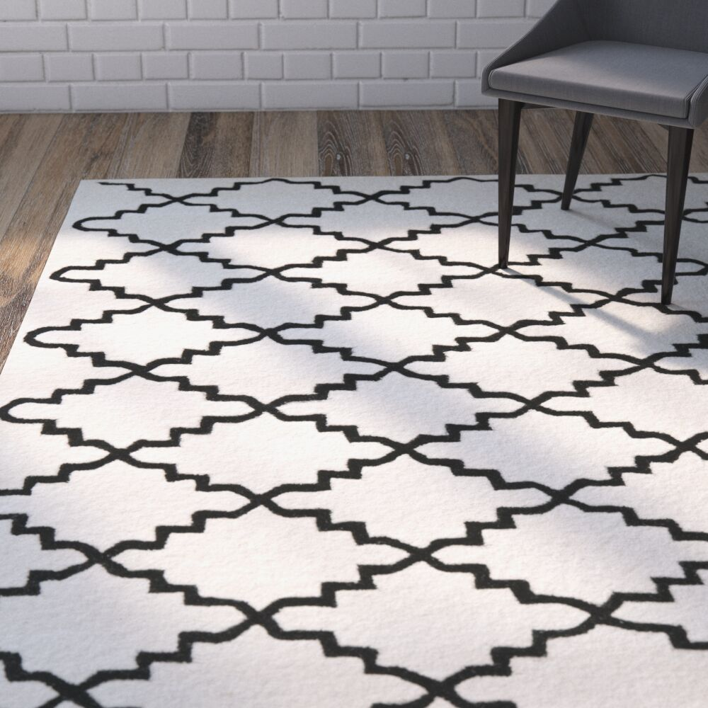 Wilkin Hand-Tufted Wool Ivory/Black Area Rug Rug Size: Rectangle 4' x 6'