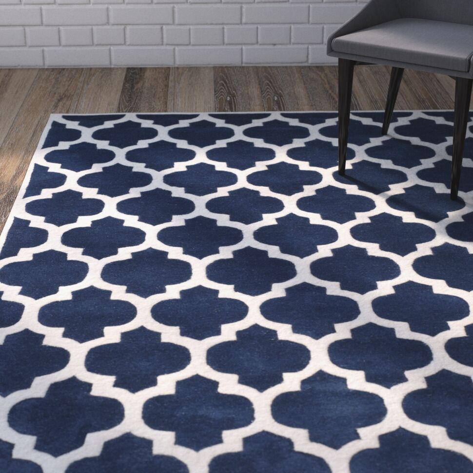 Wilkin Hand-Tufted Dark Blue/Ivory Area Rug Rug Size: Rectangle 5' x 8'