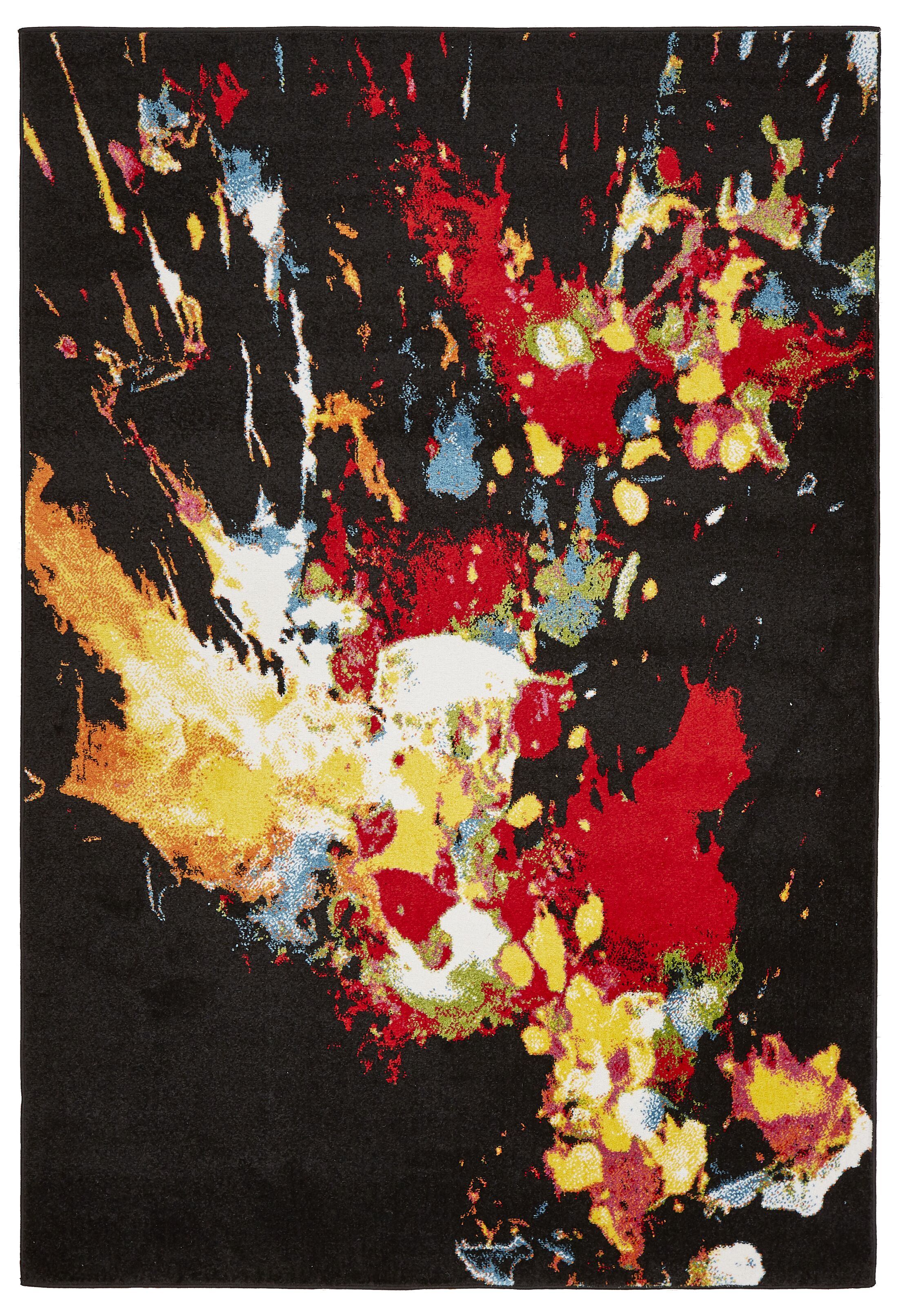 Andreasen Abstract Splash Black/Red/Yellow Area Rug Rug Size: Rectangle 7'9