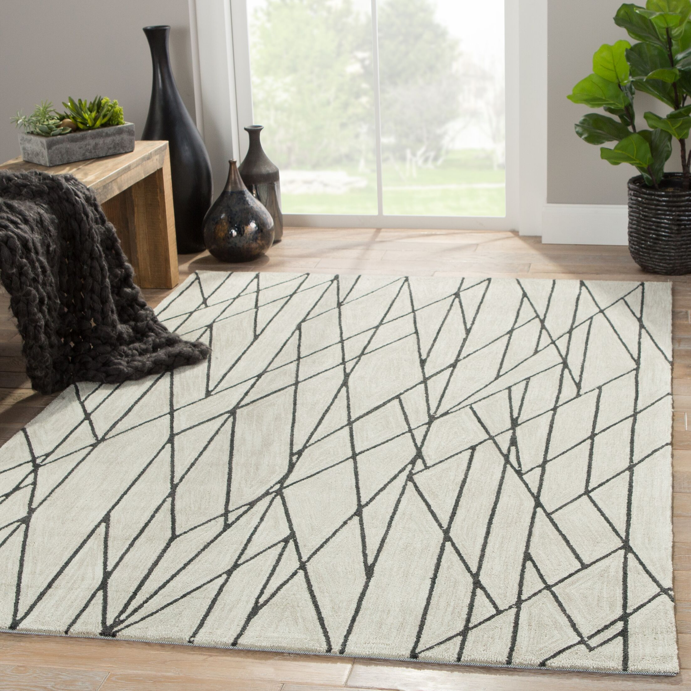 Hellman Hand-Tufted Taupe/Black Area Rug Rug Size: Rectangle 7'6
