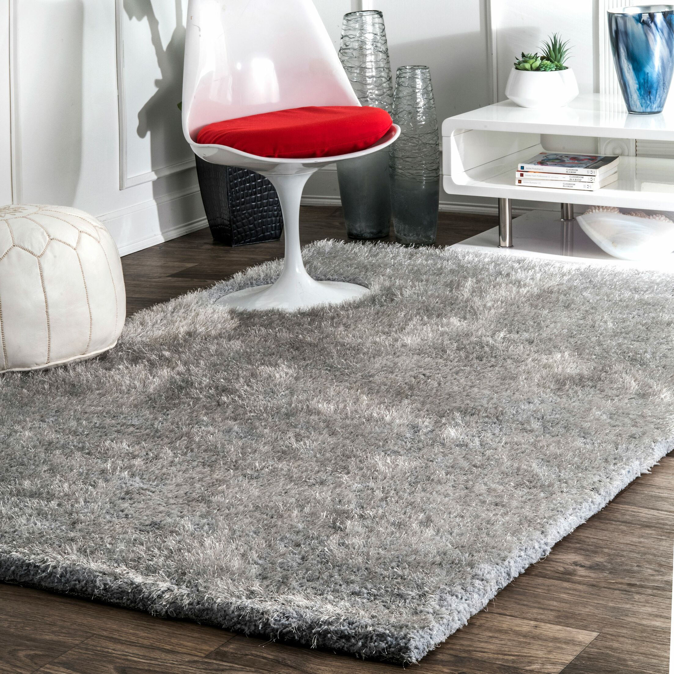 Shadwick Hand Tufted Light Gray Area Rug Rug Size: Rectangle 8'6