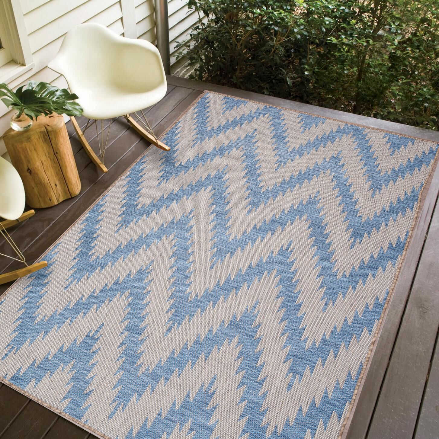 Stenberg Ivory/Blue Indoor/Outdoor Area Rug Rug Size: Rectangle 8'3 x 10'
