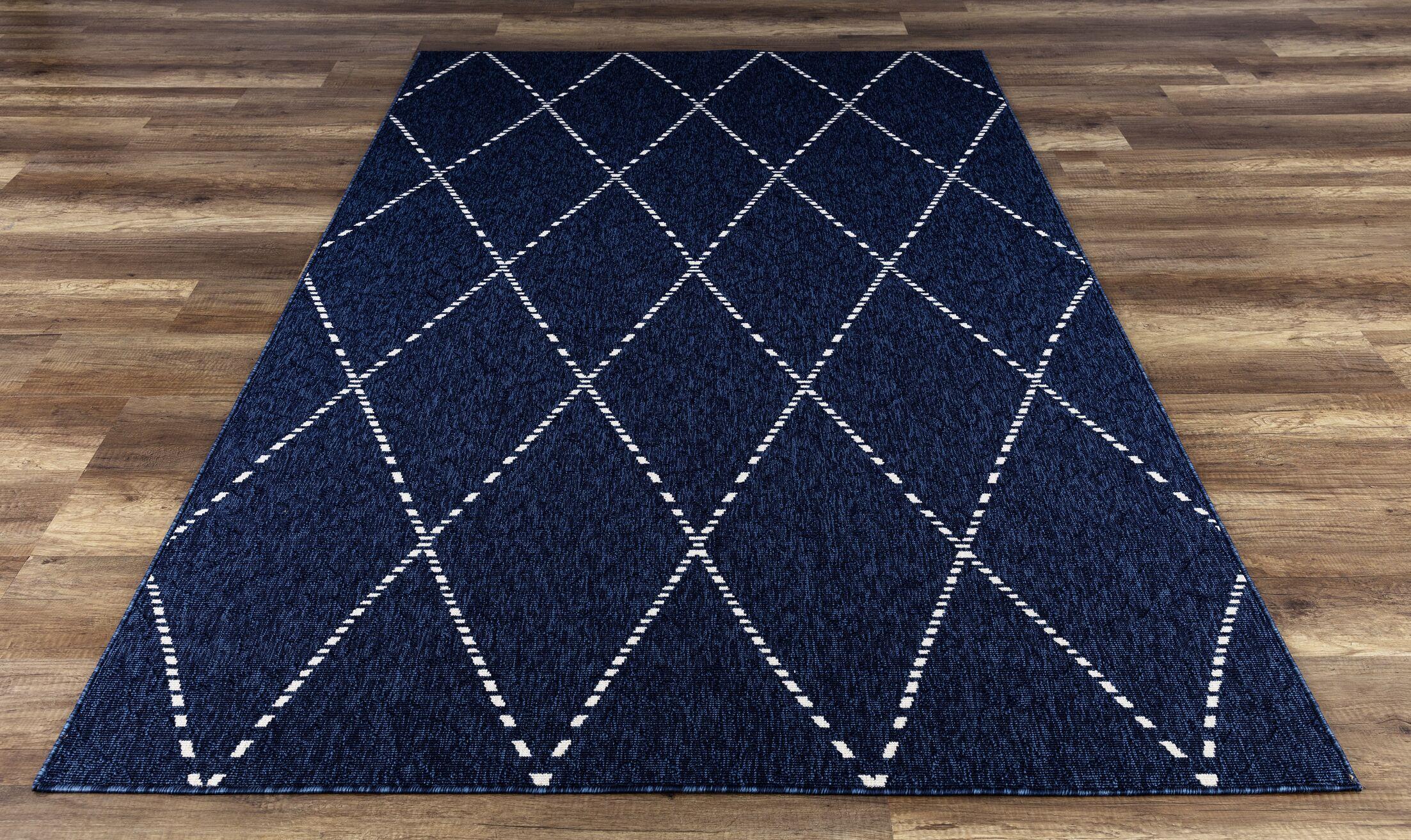 Godinez High-Quality Navy Indoor/Outdoor Area Rug Rug Size: Rectangle 5'3