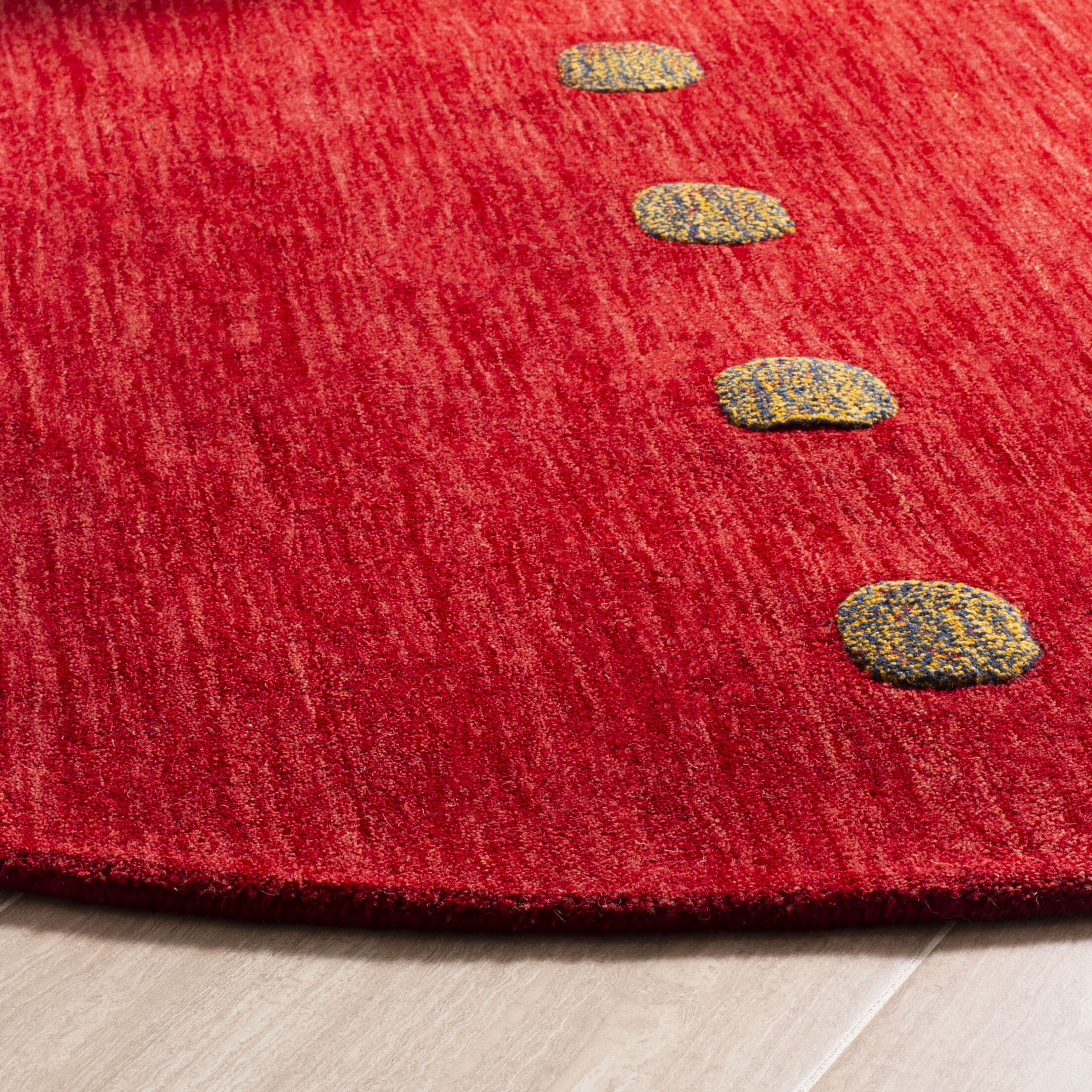 Pixley Hand-Woven Wool Red Area Rug Rug Size: Round 6'