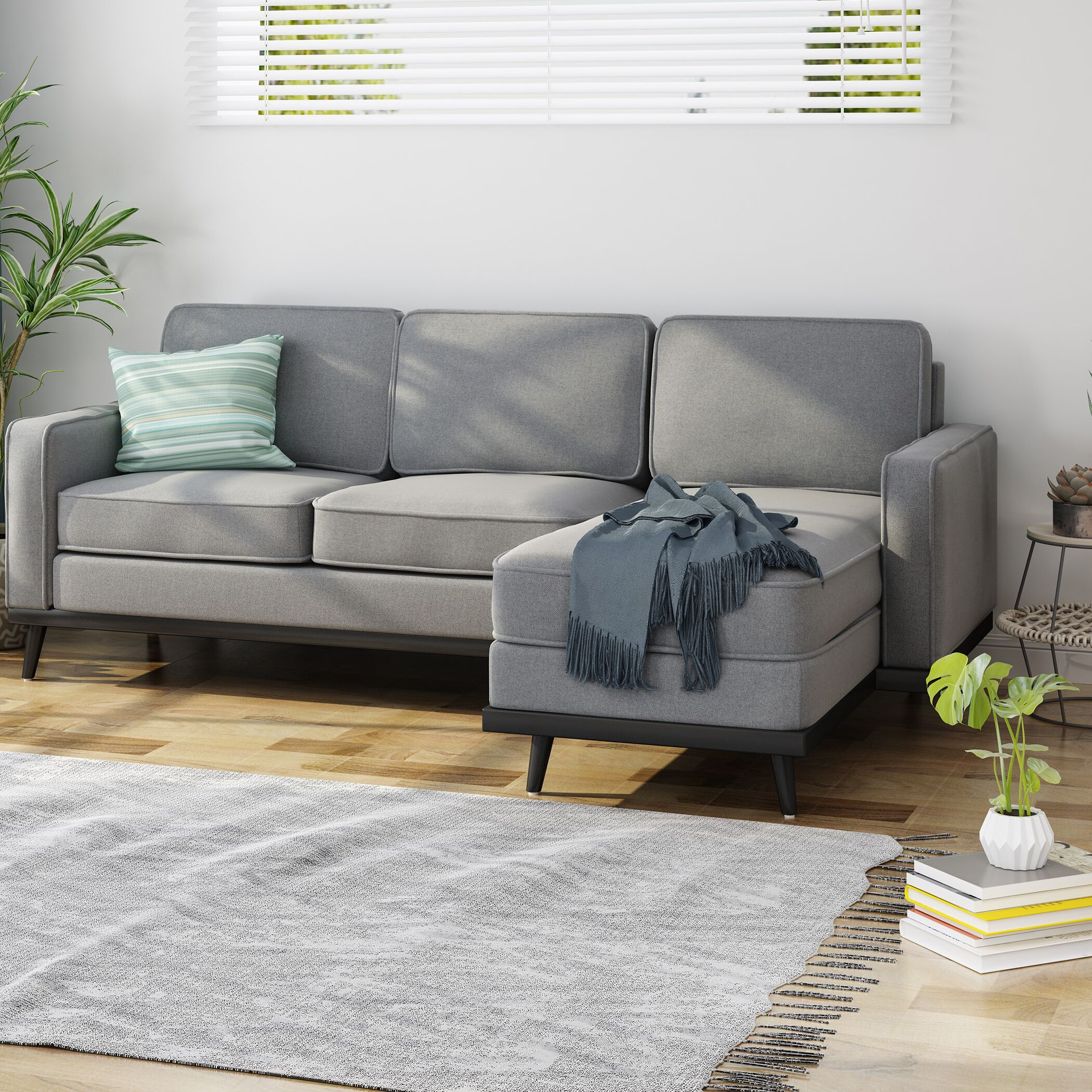 Melby Mid Century Fabric Chaise Sectional Upholstery: Gray
