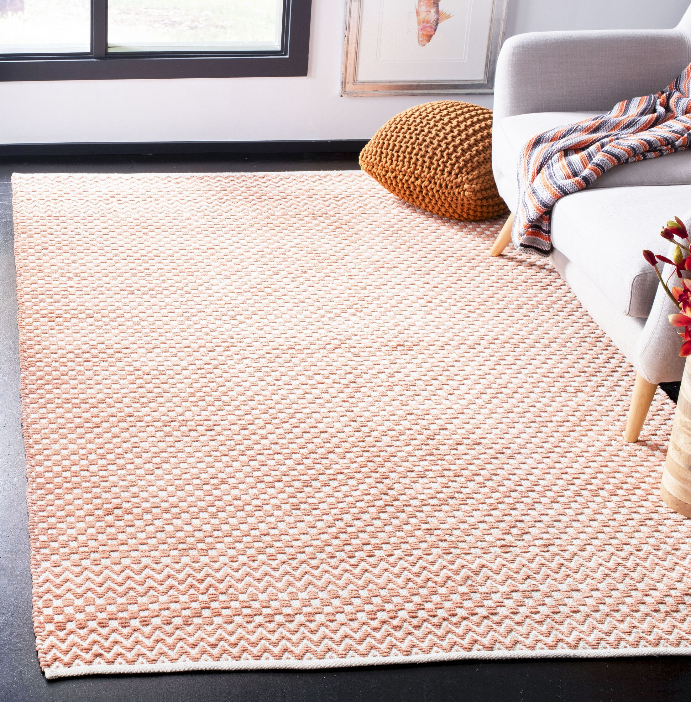 Redbrook Hand-Tufted Cotton Orange Area Rug Rug Size: Rectangle 6' x 9'
