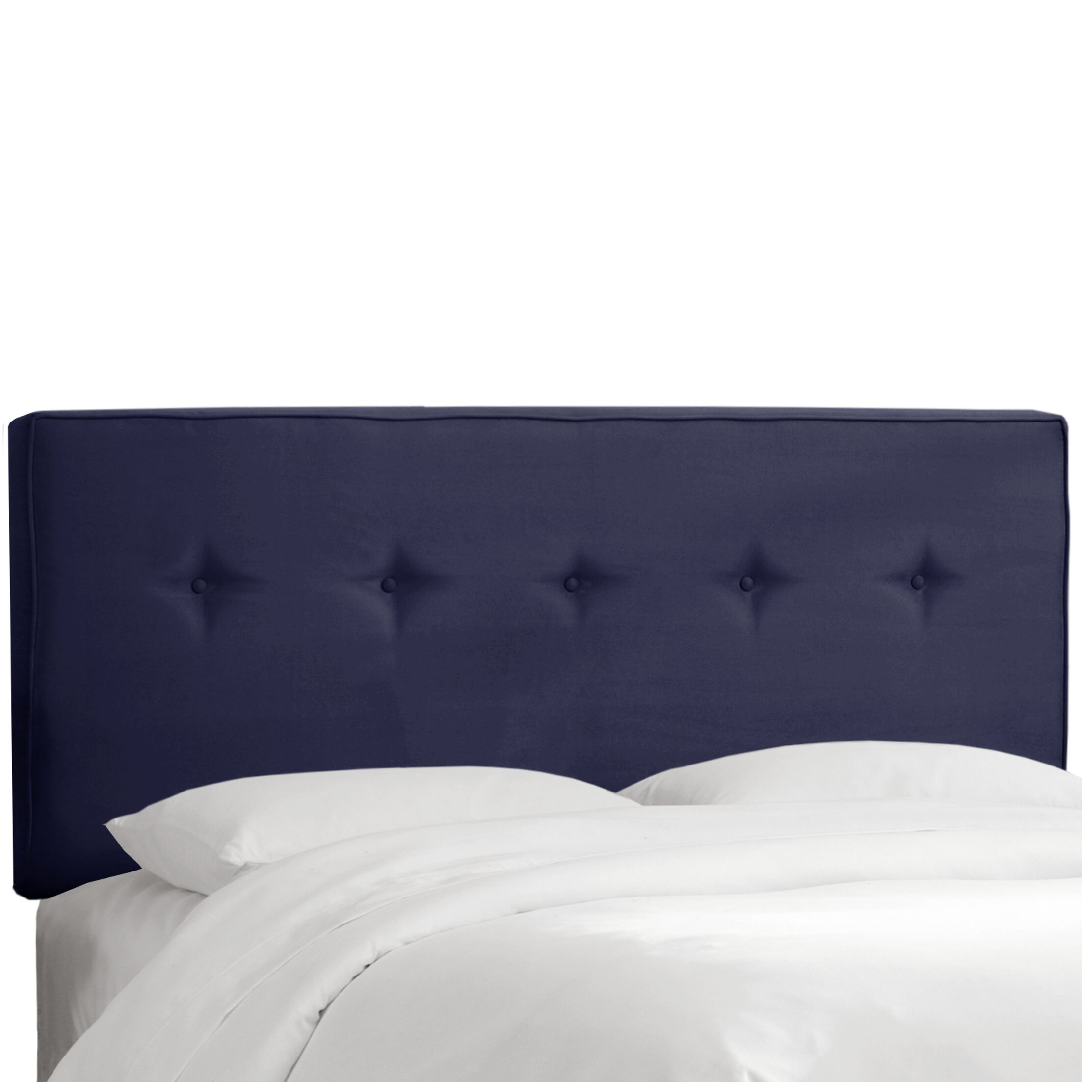 Button Tufted Upholstered Panel Headboard Upholstery: Navy, Size: Queen