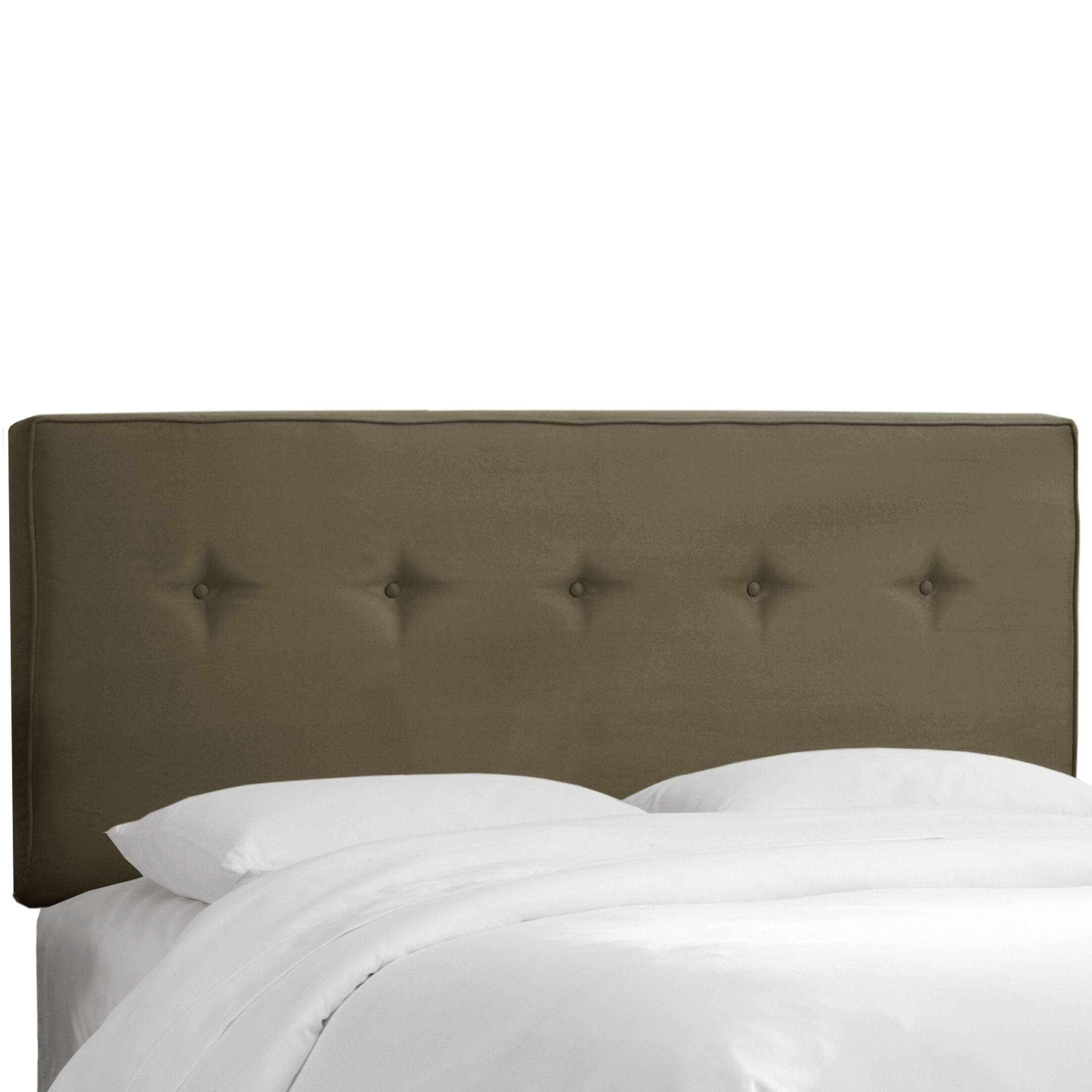 Button Tufted Upholstered Panel Headboard Upholstery: Pewter, Size: King