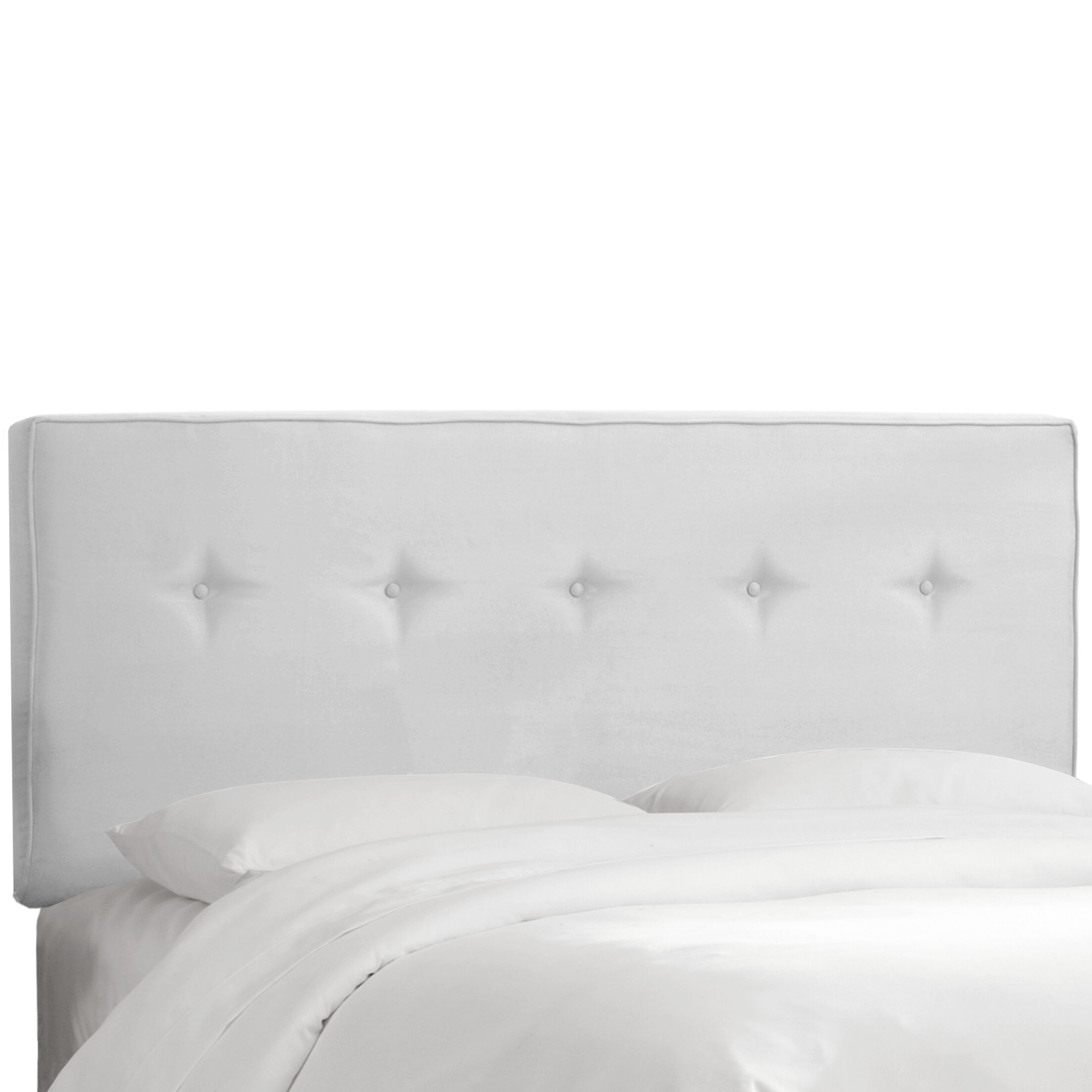 Button Tufted Upholstered Panel Headboard Upholstery: White, Size: Queen