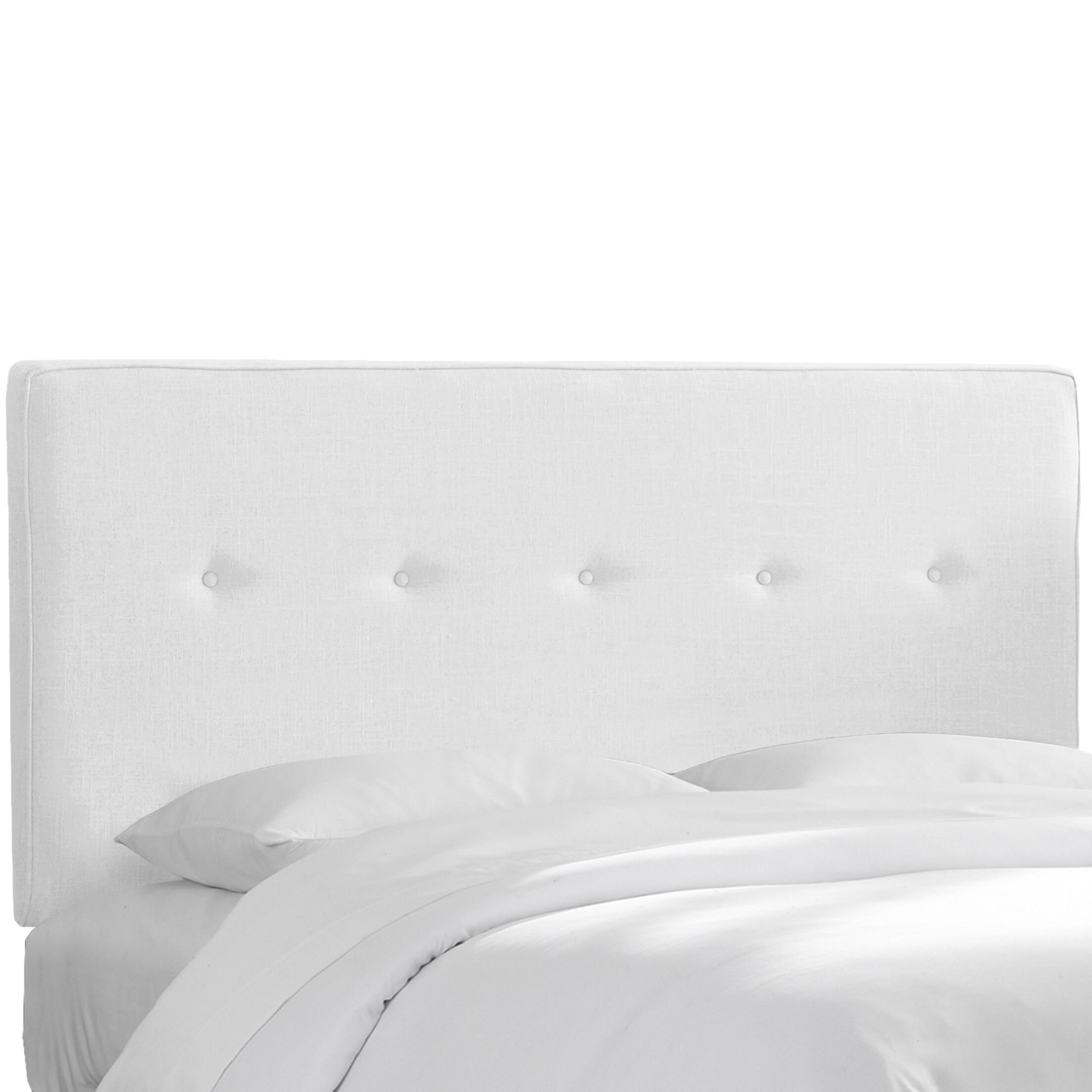 Monteiro Twill Upholstered Panel Headboard Size: Full, Upholstery: White