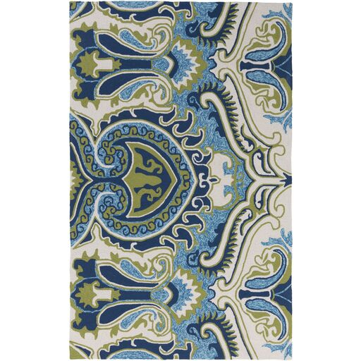 Centreville Hand-Hooked Navy/Moss Indoor/Outdoor Area Rug Rug Size: Rectangle 8' x 10'