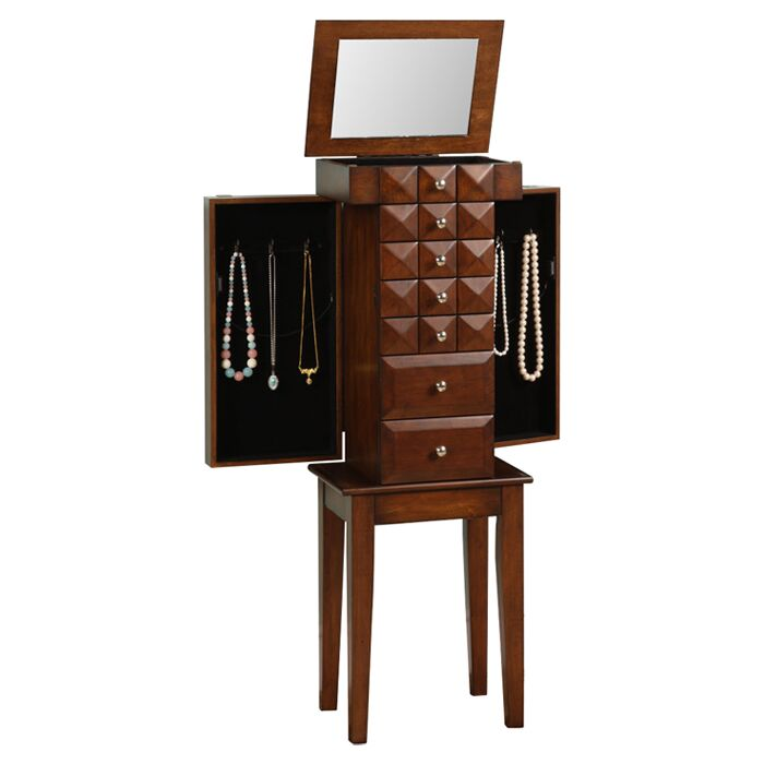 Bothwell Jewelry Armoire with Mirror Color: Coffee Brown