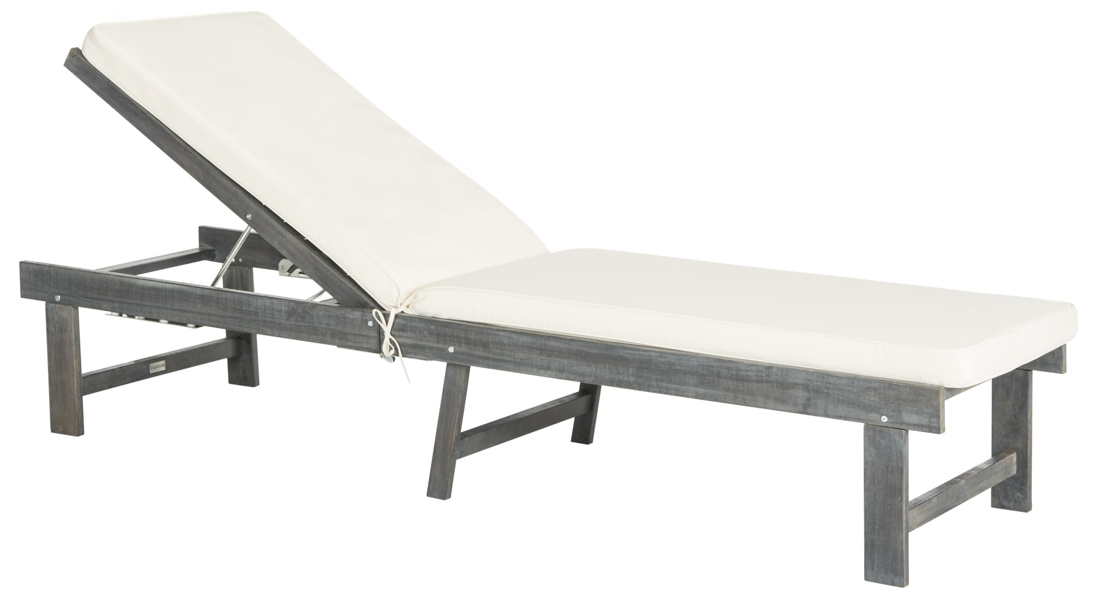 Matheny Reclining Teak Chaise Lounge with Cushion Color: Ash Grey / Beige