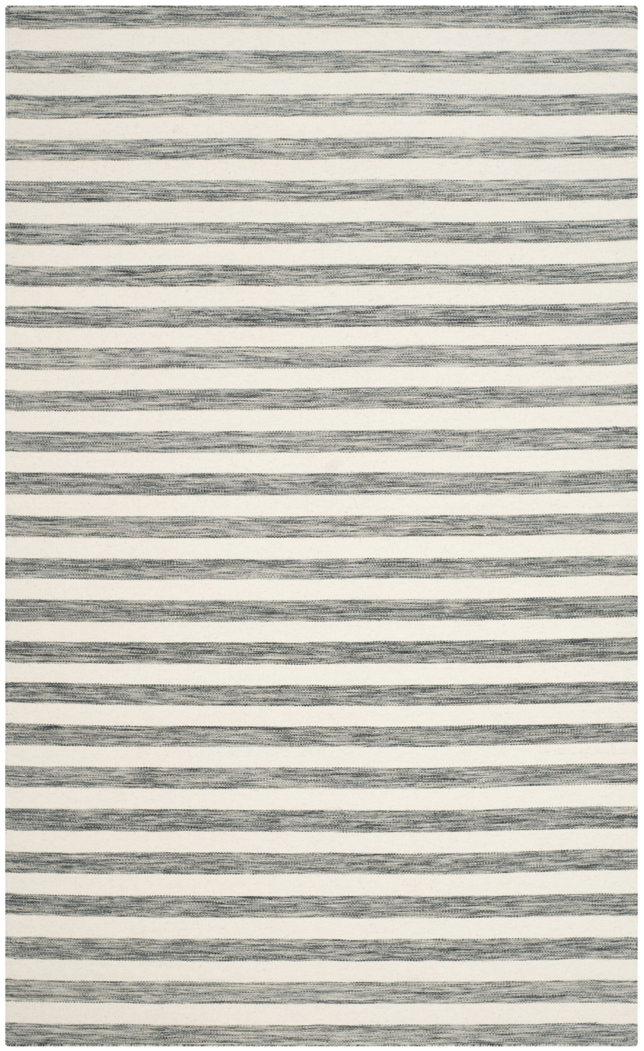 Mahaney Hand-Woven Gray/Ivory Area Rug Rug Size: Rectangle 5' x 8'