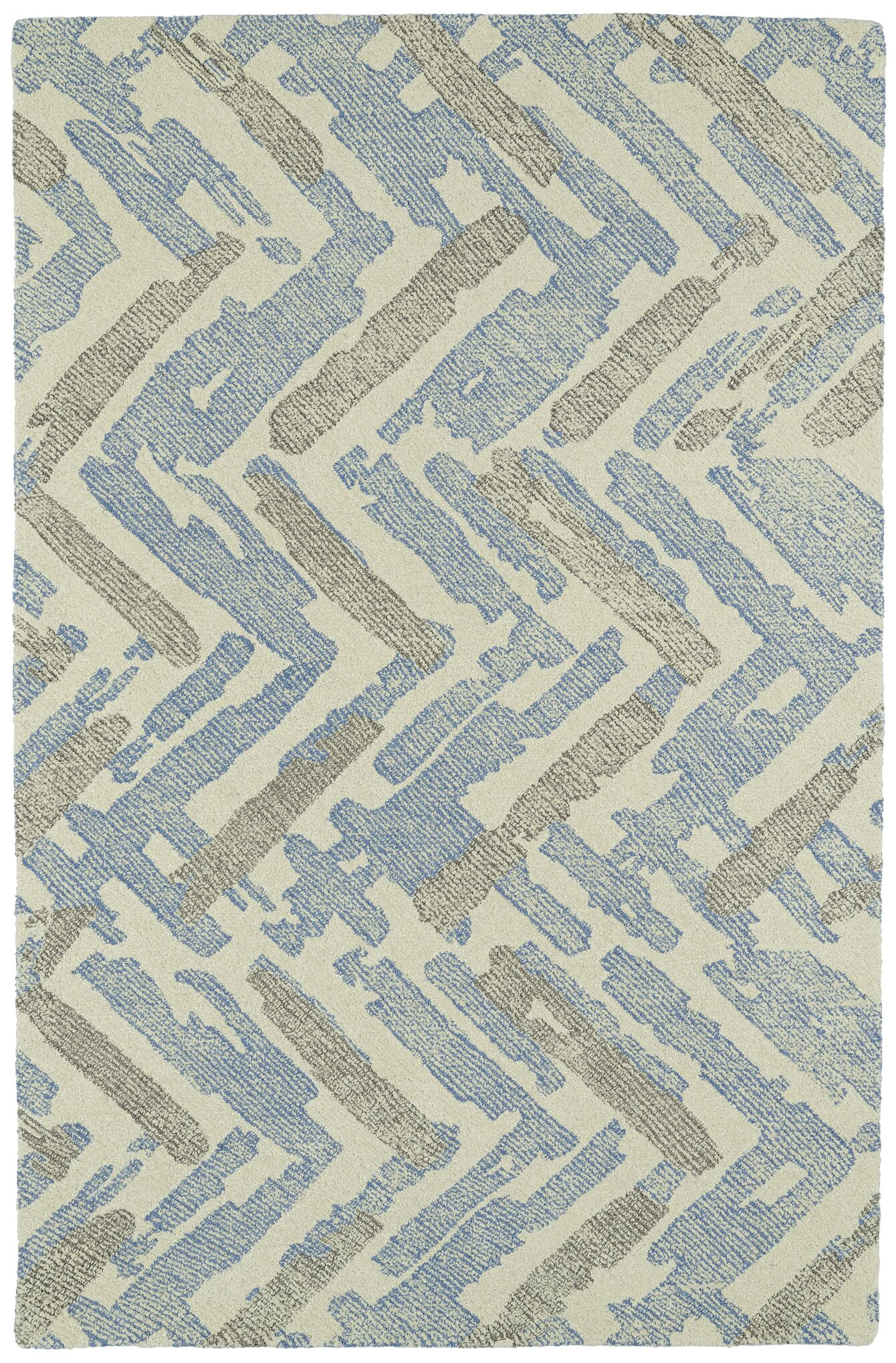 Louane Hand-Tufted Beige/Blue Area Rug Rug Size: Rectangle 9' x 12'