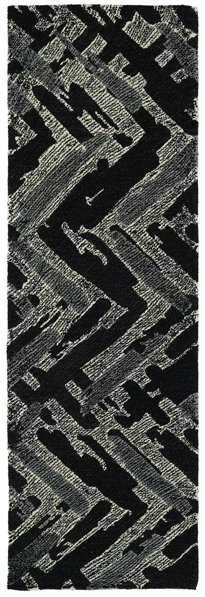 Louane Hand-Tufted Black/Gray Area Rug Rug Size: Runner 2'6