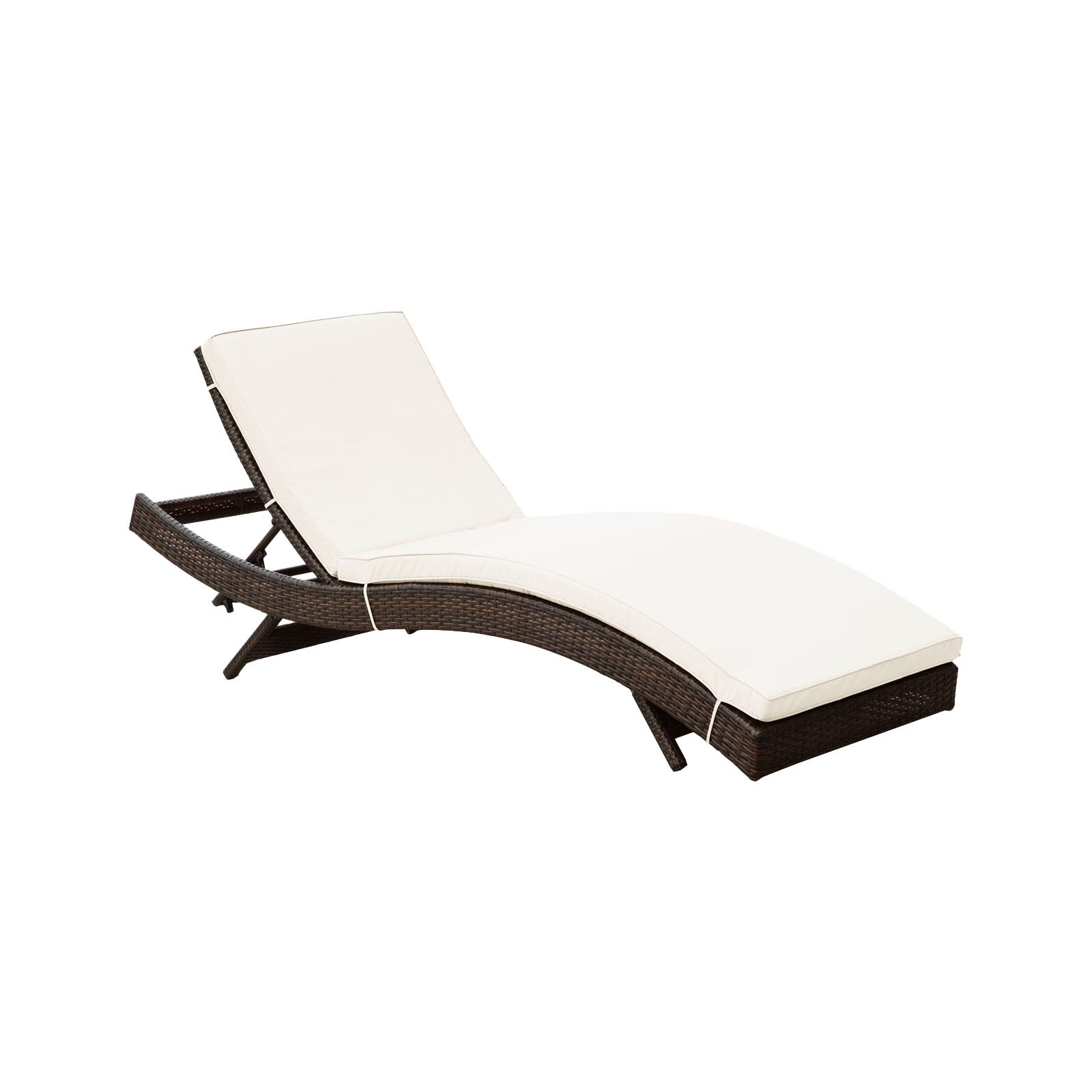 Ludwick Chaise Lounge with Cushion Fabric: White