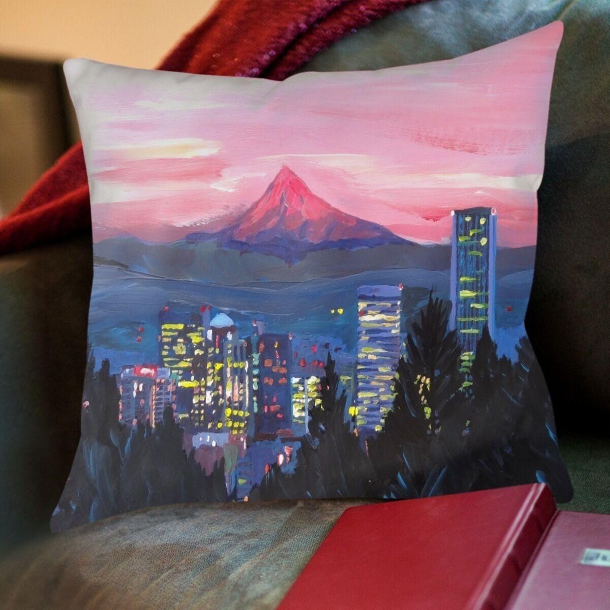 Markus Bleichner Simonds Portland Or Mt Hood Red Throw Pillow Size: 18