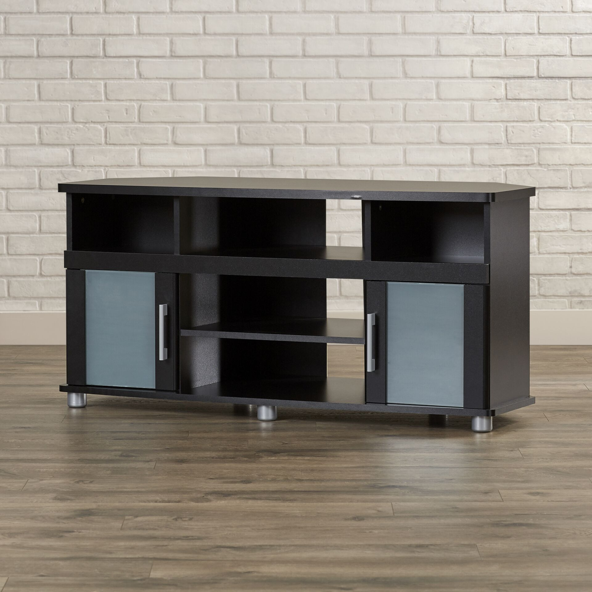 City Life Corner TV Stand, for TVs up to 50 inches Color: Pure Black
