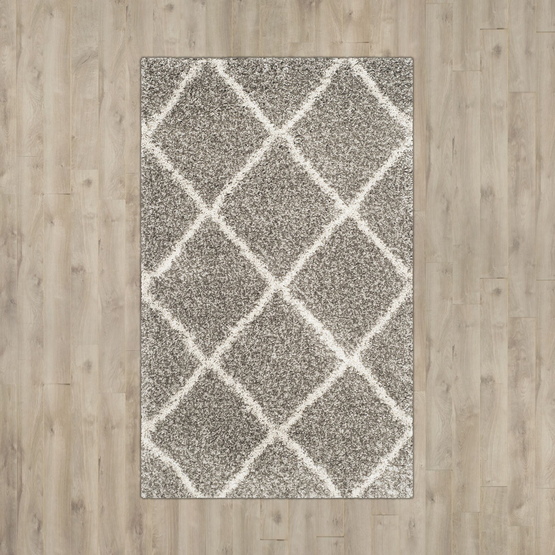 Duhon Gray/Ivory Area Rug Rug Size: Square 5'