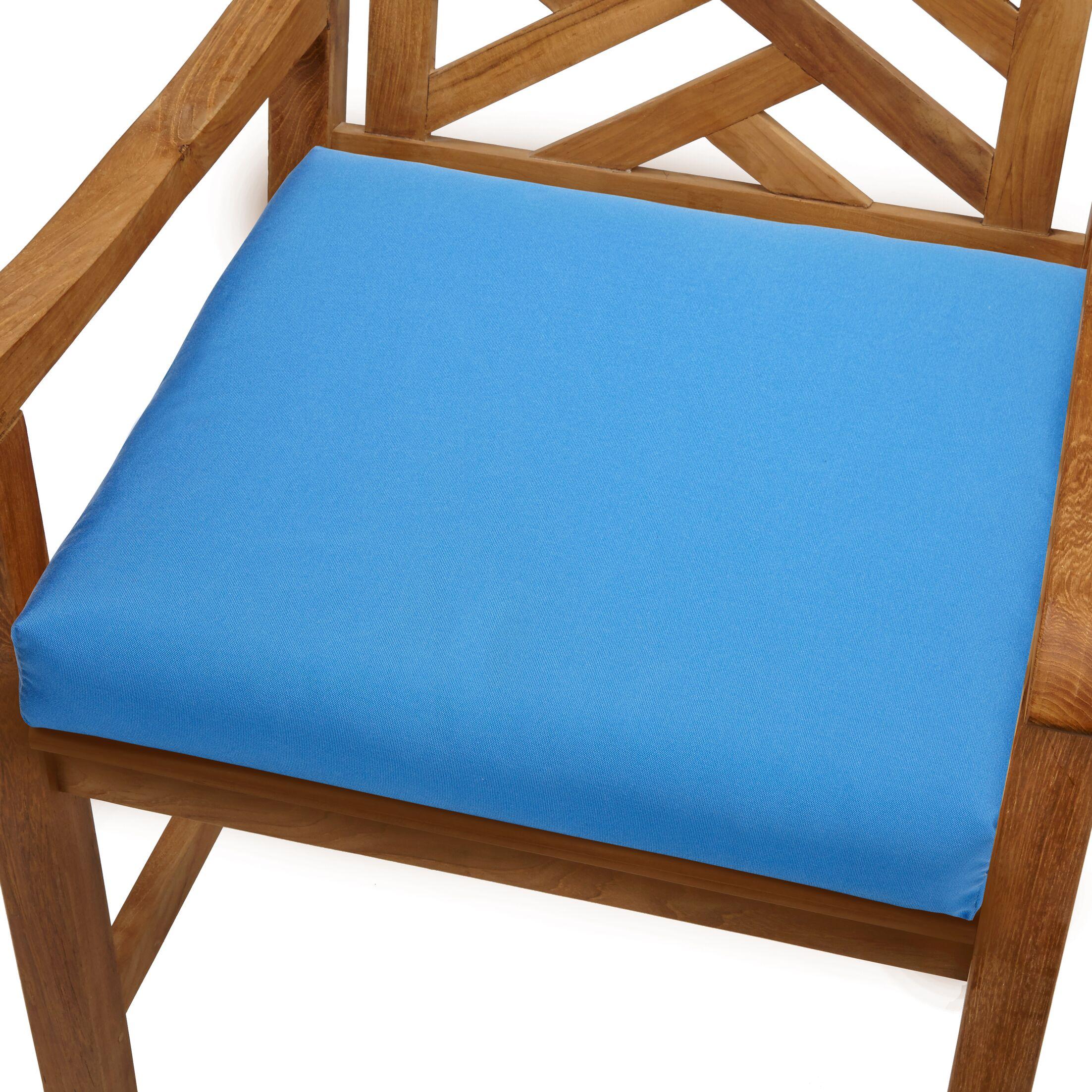 Mcclain Indoor/Outdoor Sunbrella Dining Chair Cushion Fabric: Capri Blue, Size: 19