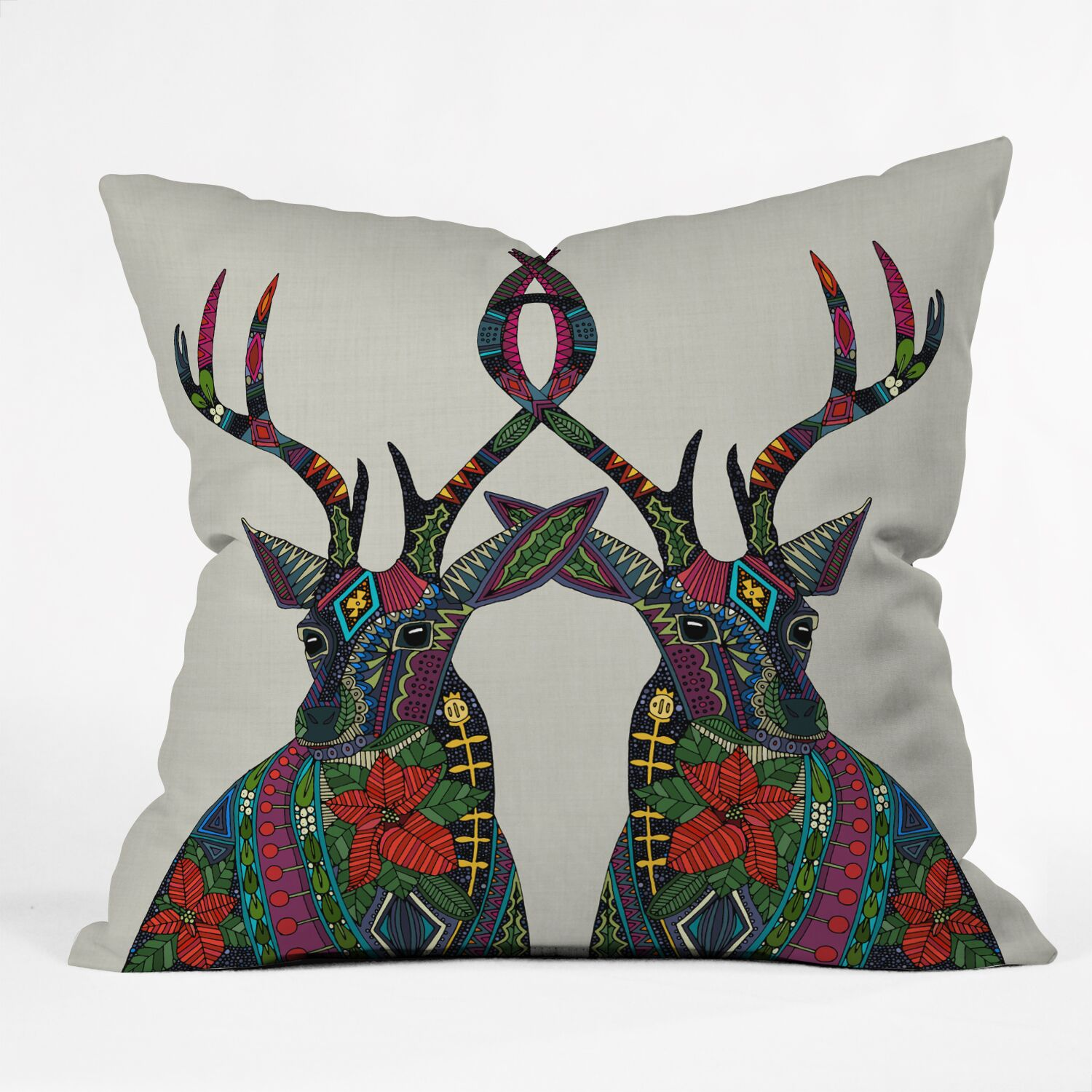 Dingler Poinsettia Deer Throw Pillow Size: Extra Large