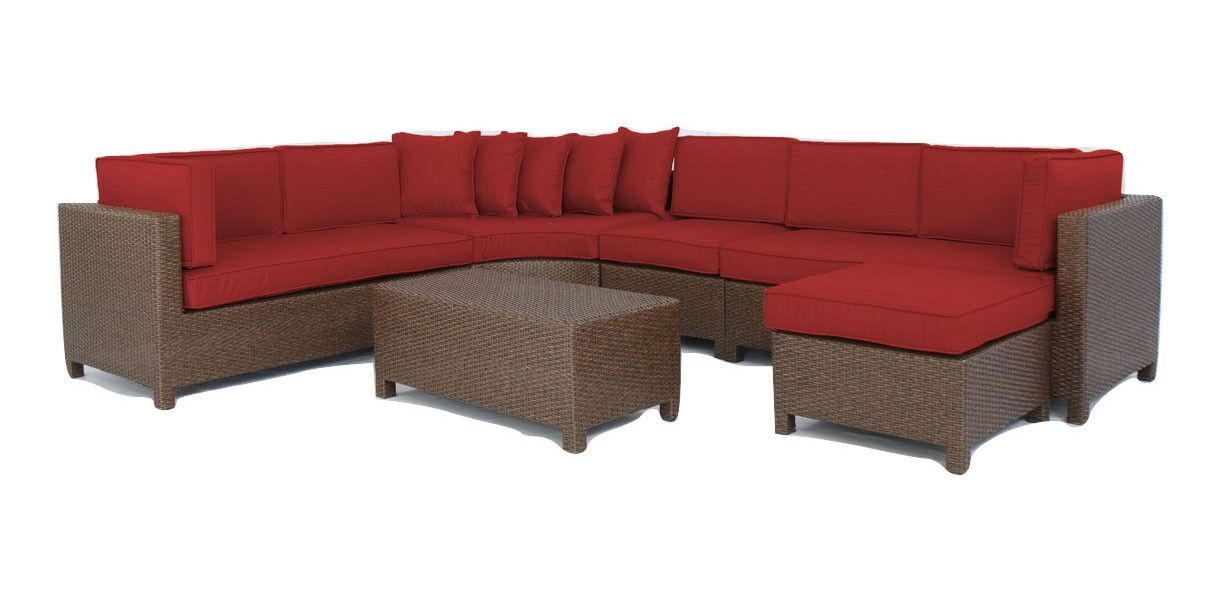 Luciano 6 Piece Sectional Set with Cushions Fabric: Ribbed Brick
