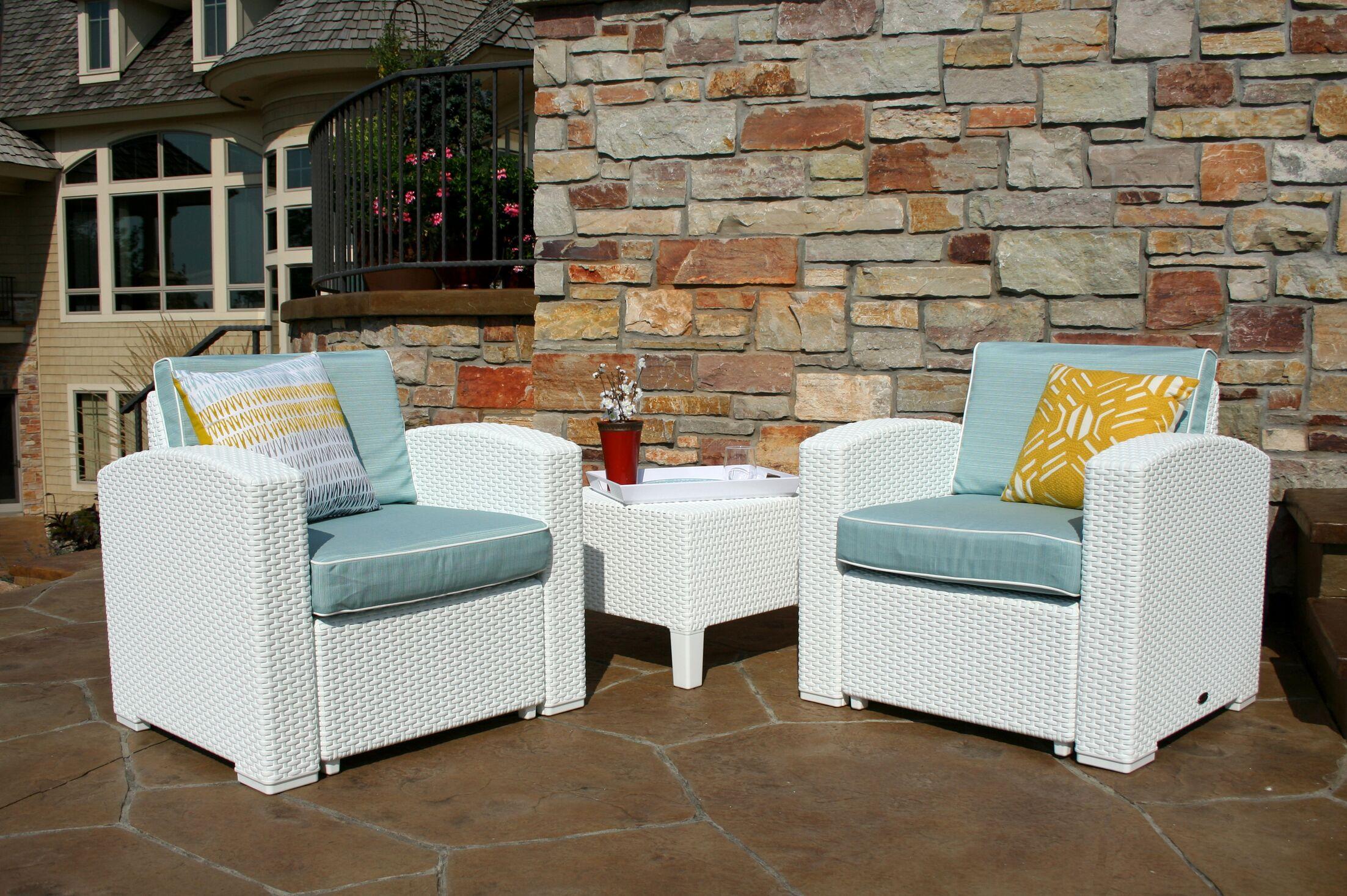 Loggins 3 Piece Conversation Set with Cushions Color: Brown