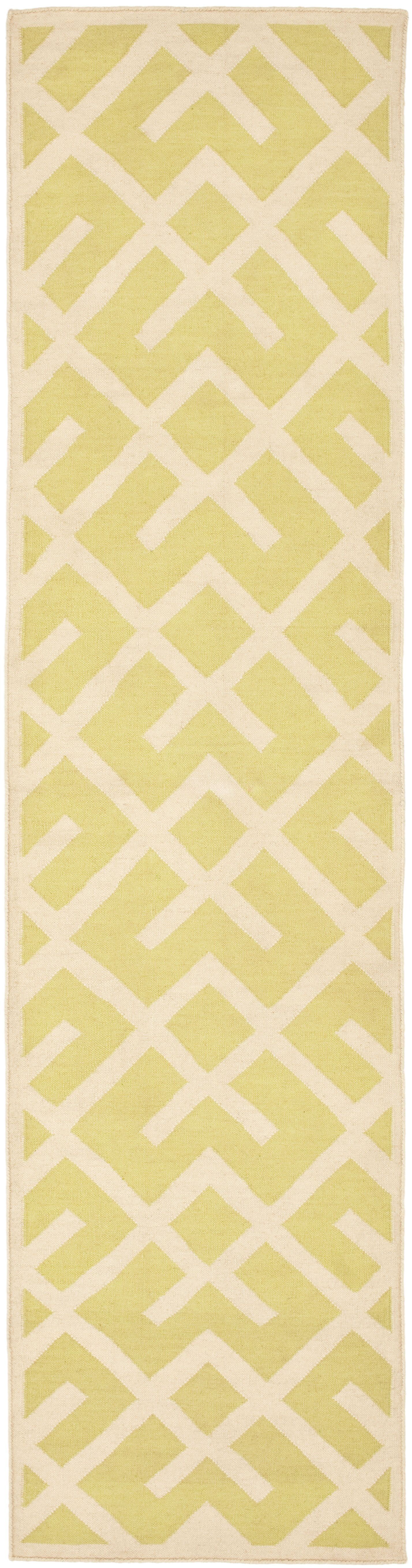 Crawford Hand-Woven Light Green/Ivory Area Rug Rug Size: Runner 2'6