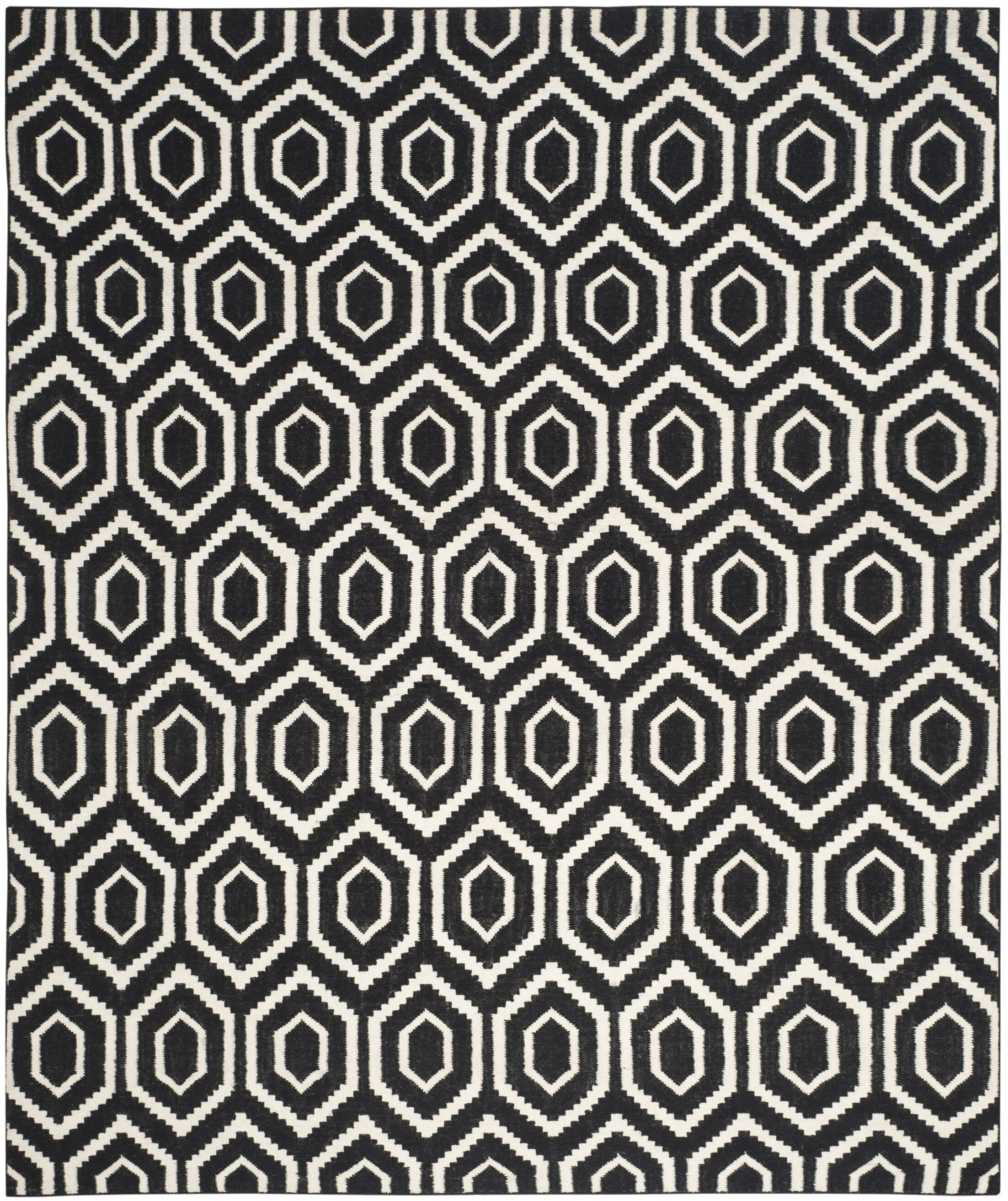 Crawford Hand-Woven Wool Black/Ivory Area Rug Rug Size: Rectangle 5' x 8'