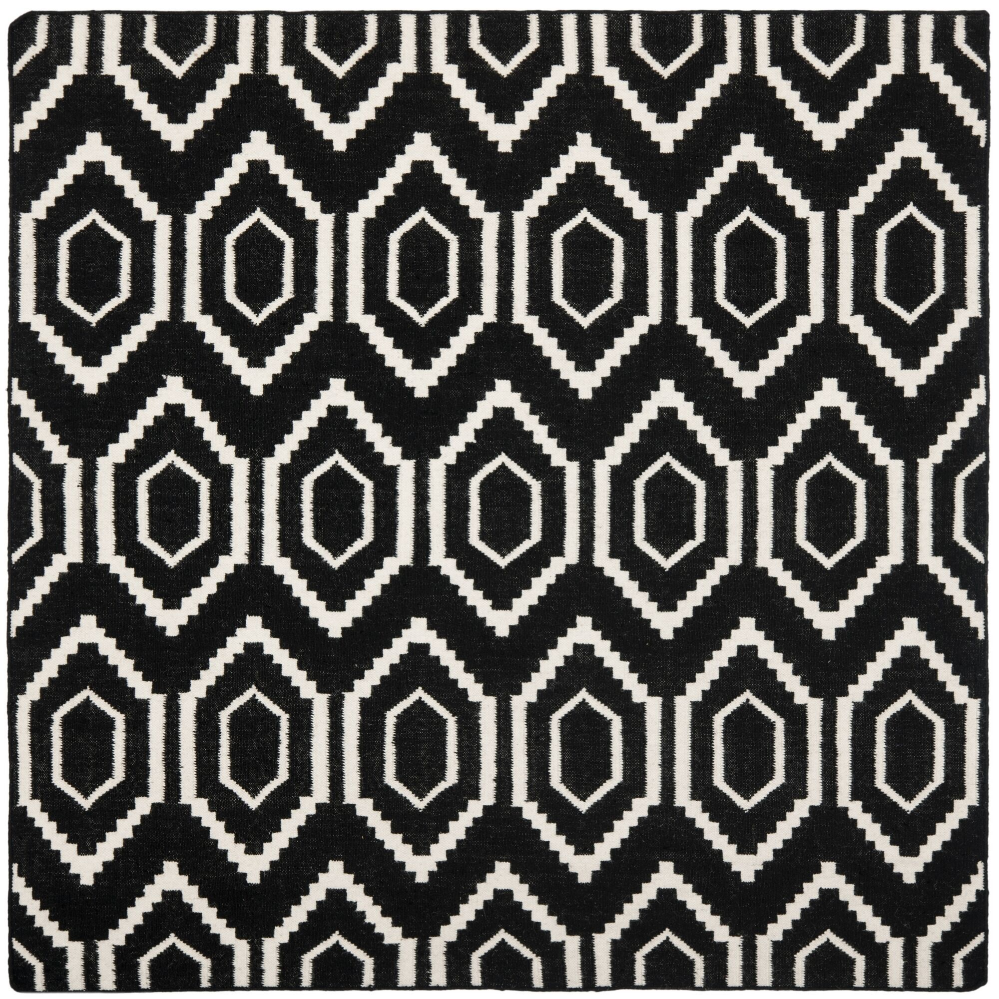 Crawford Hand-Woven Wool Black/Ivory Area Rug Rug Size: Square 8'