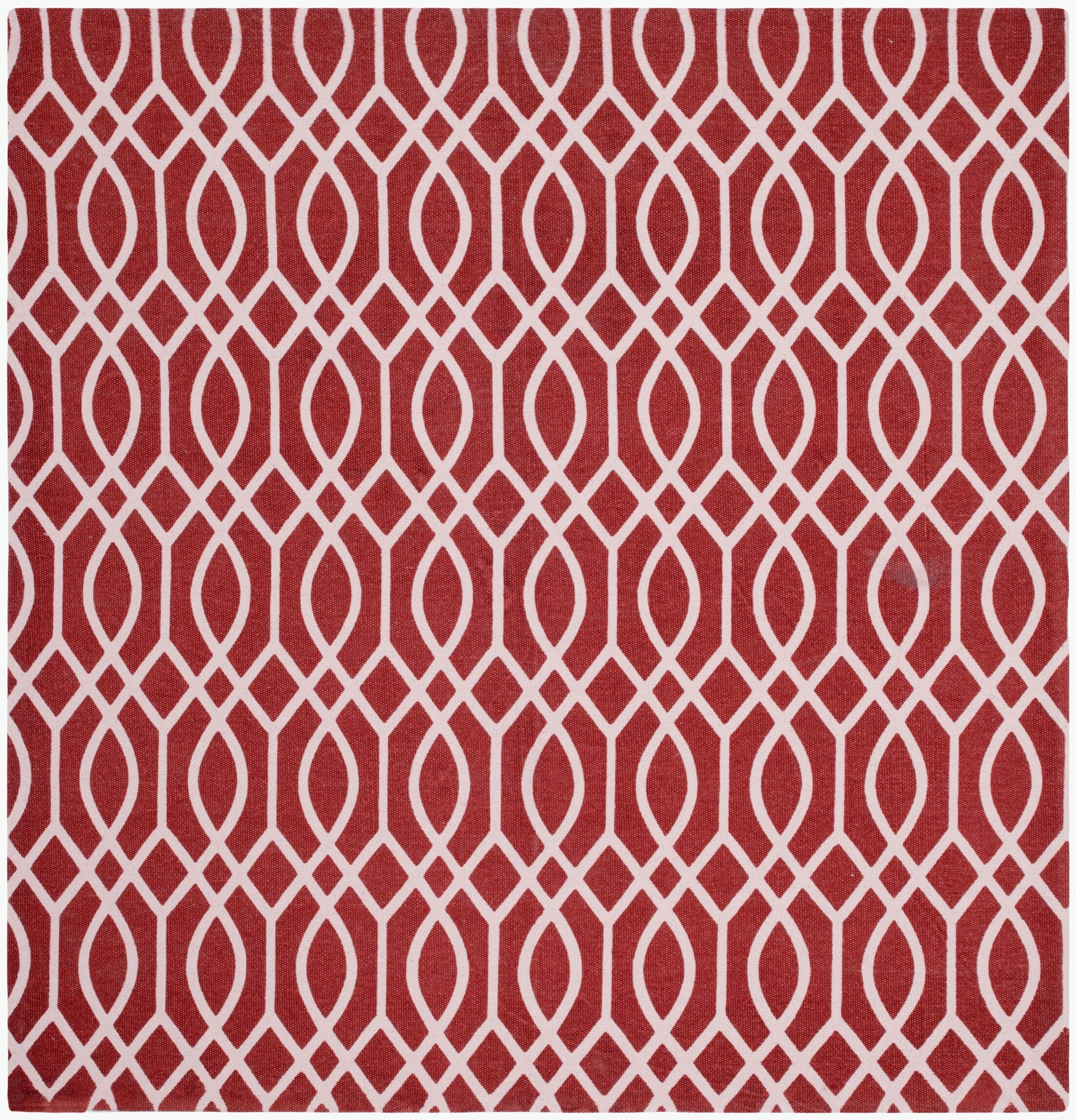Nolan Hand-Loomed Coral/Ivory Area Rug Rug Size: Square 5'