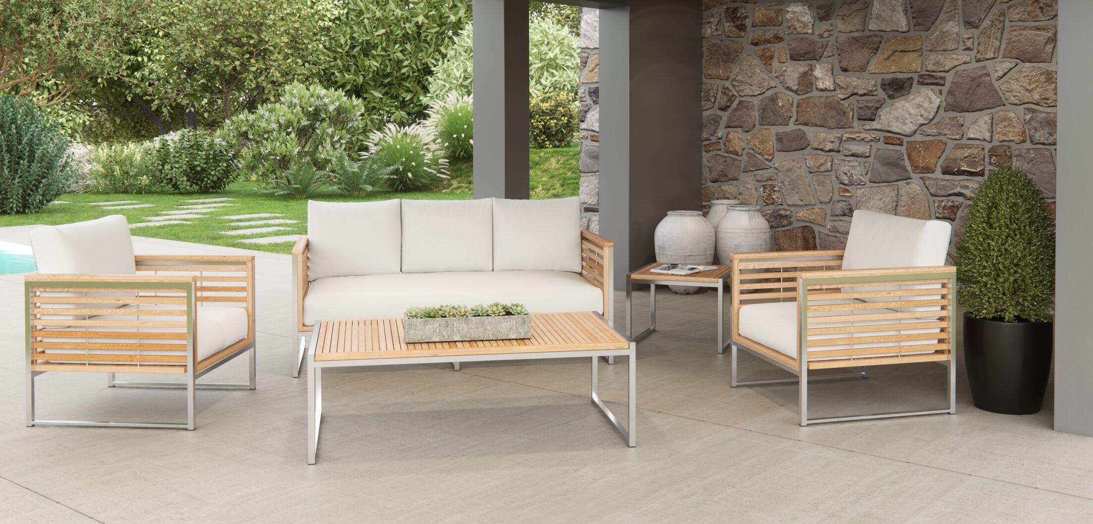 Markowitz 5 Piece Teak Sofa Set with Cushions