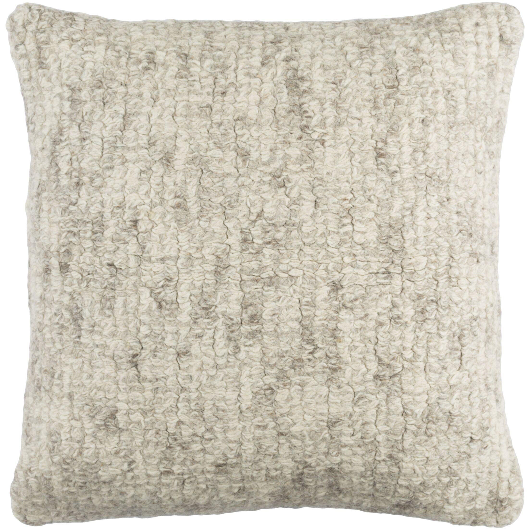 Agathon Wool Throw Pillow Color: Cream/Medium Gray/Taupe
